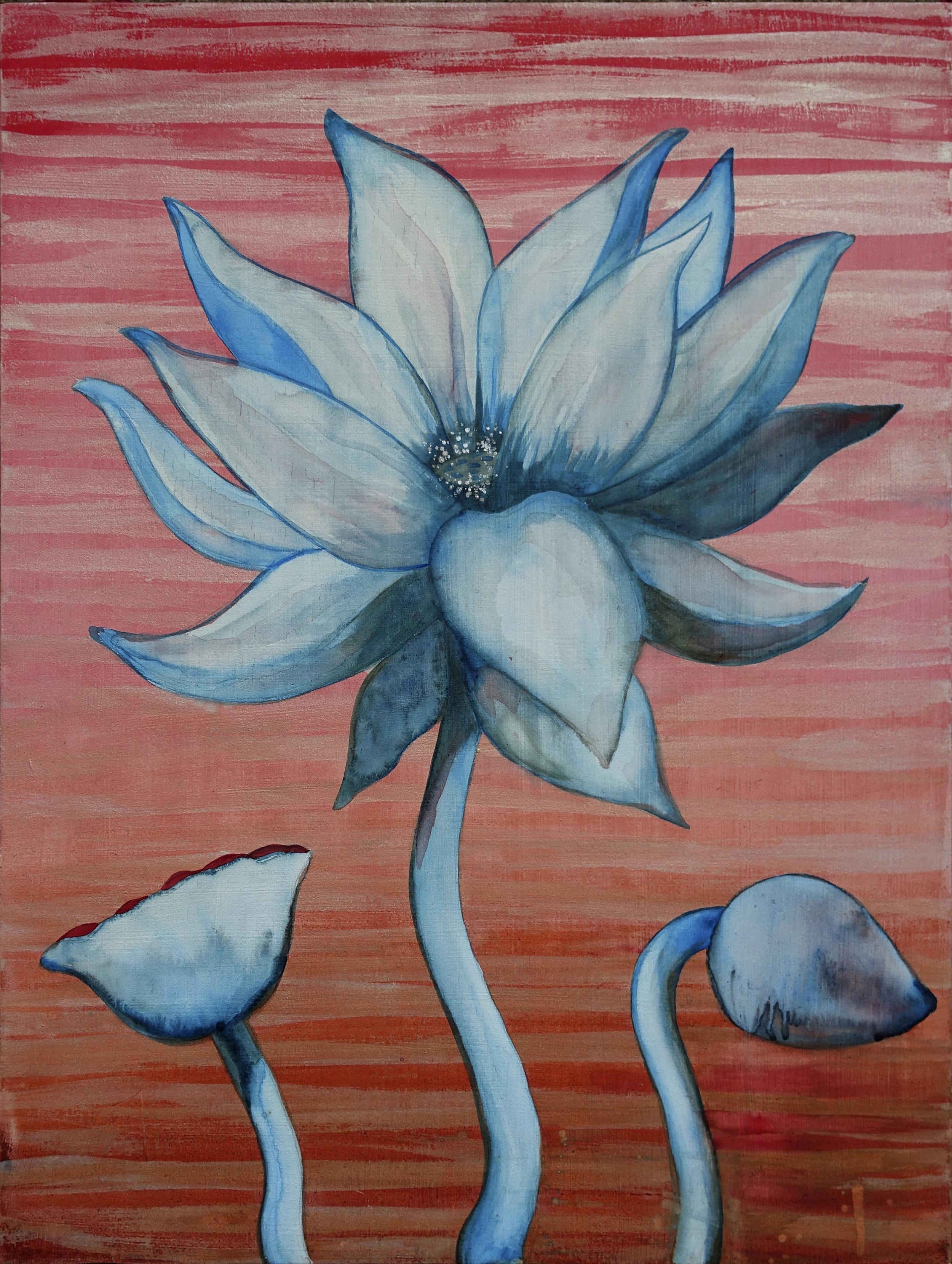 """Lotus, Number 8, Series 2    Watercolor on wood 24"""" x 18"""" (60.96cm x 45.72cm) © 2017"""