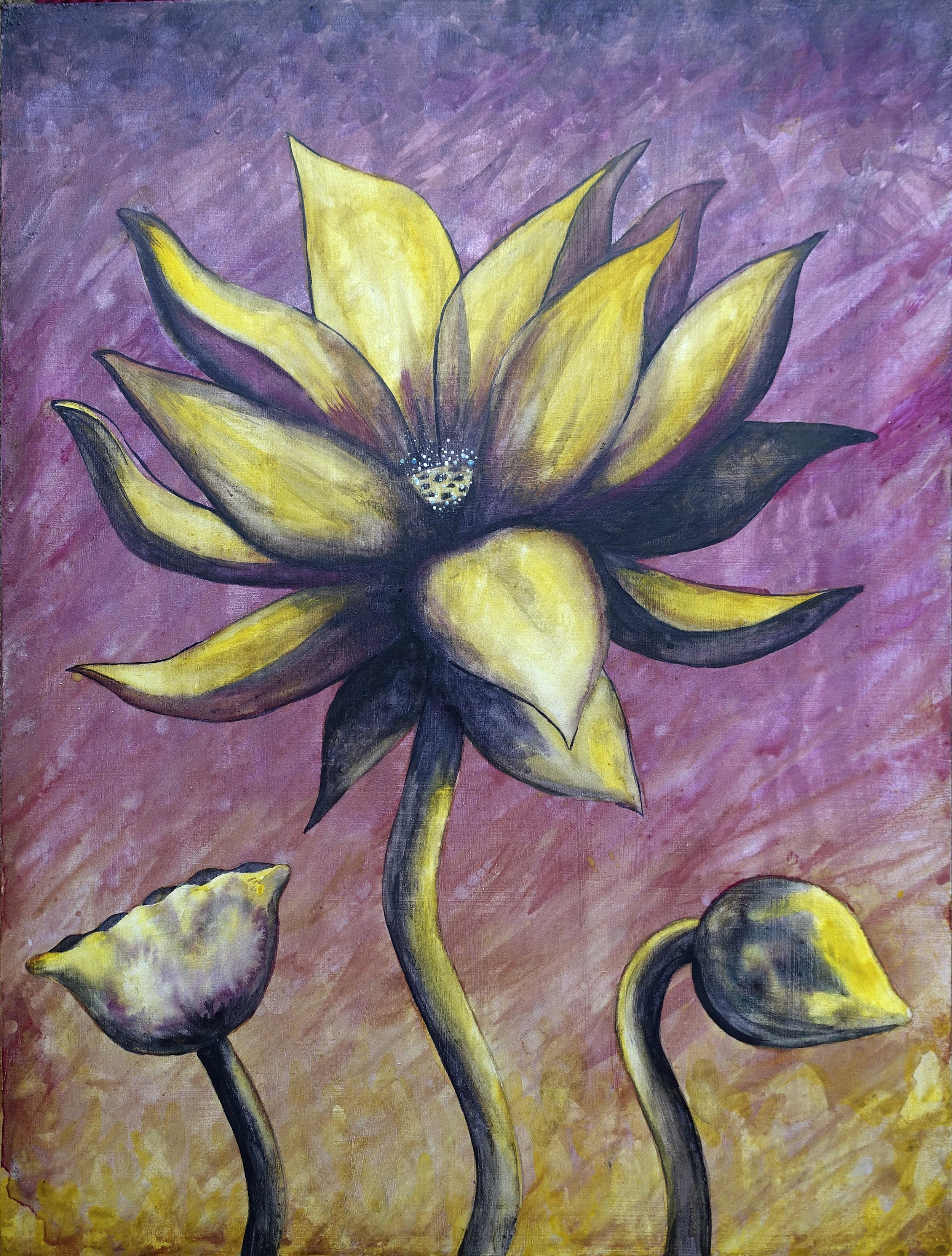 """Lotus, Number 4, Series 2    Watercolor on wood 24"""" x 18"""" (60.96cm x 45.72cm) © 2017"""