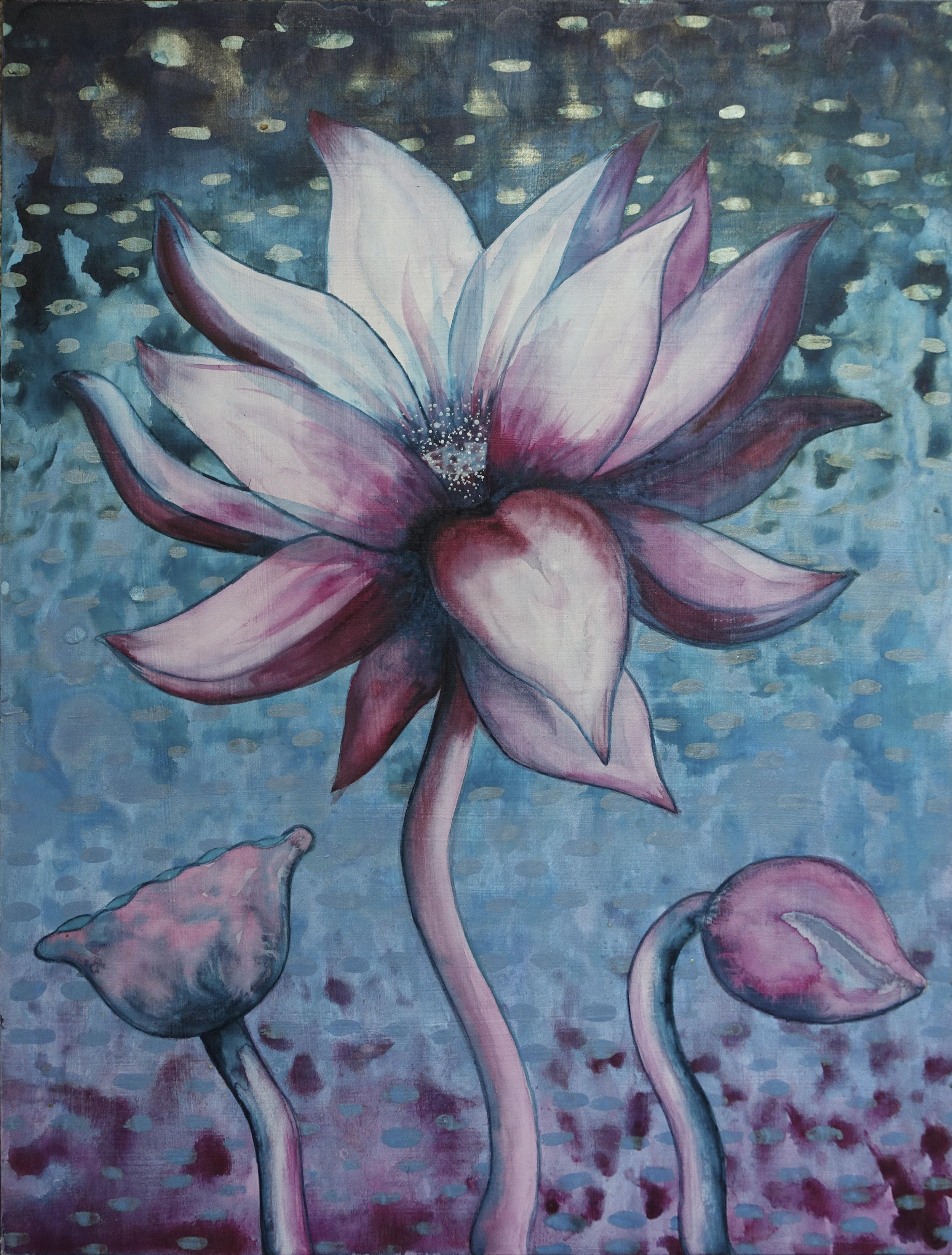 """Lotus, Number 10, Series 2    Watercolor on wood 24"""" x 18"""" (60.96cm x 45.72cm) © 2017"""