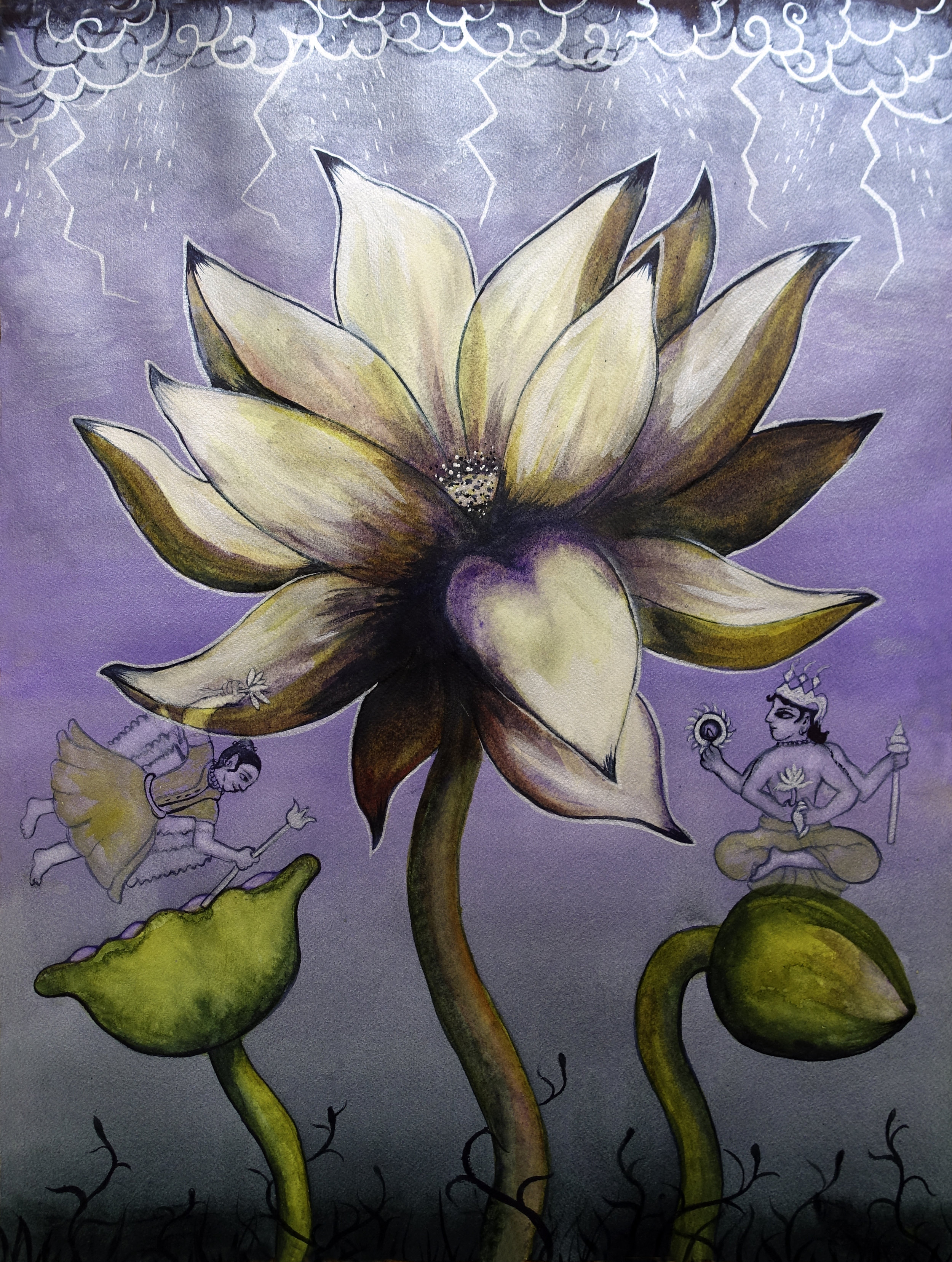 """Lotus, Number 12p, Series 2 (monsoon, celestial being, & Sri Vishnu)   Watercolor on Arches 140# WC Paper 24"""" x 18"""" (60.96cm x 45.72cm) © 2017"""