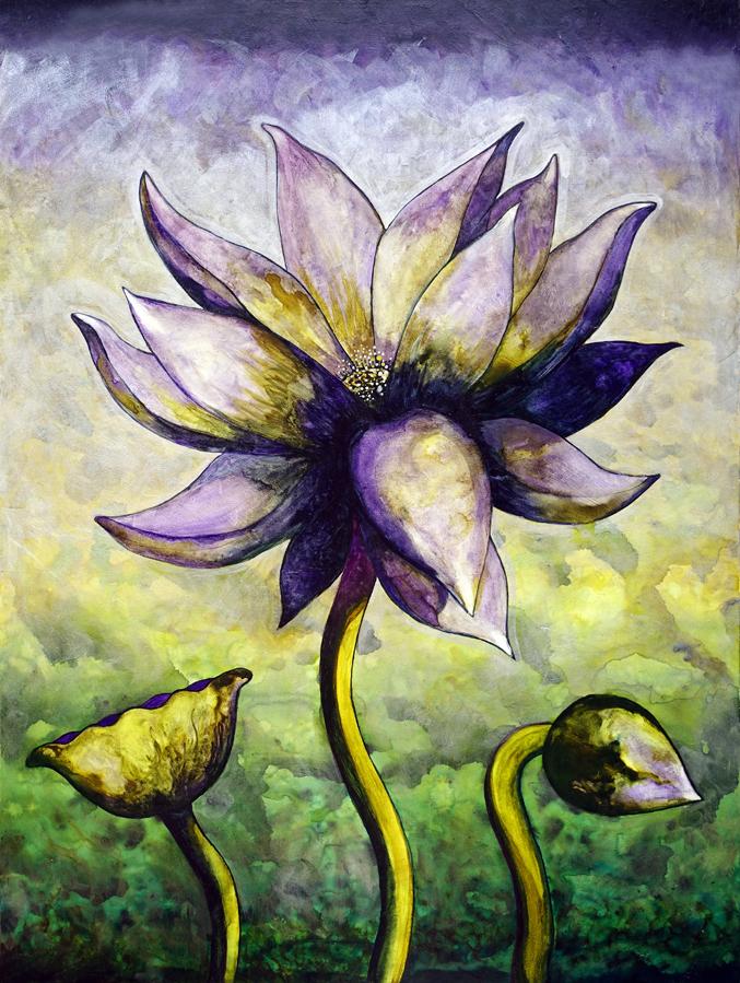 "Lotus, Number 25, Series 2   Watercolor on cradled wood panel 40"" x 30"" (101.66cm x 76.2cm) © 2017"