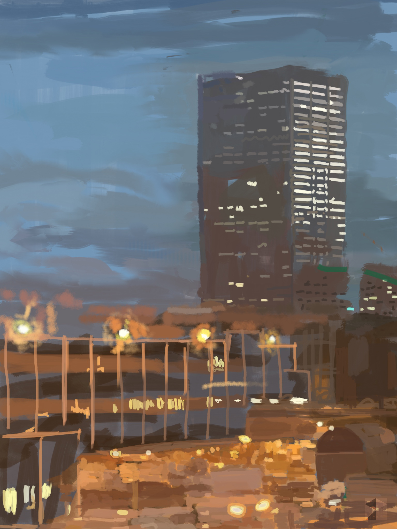 """Evening/Dusk, Big Pink, Portland, Oregon,  View Out My Window.   !9""""x13"""", (48.26x33.02cm) Dimensions Variable   Electronics Painting, iPad, Procreate, © 2017"""