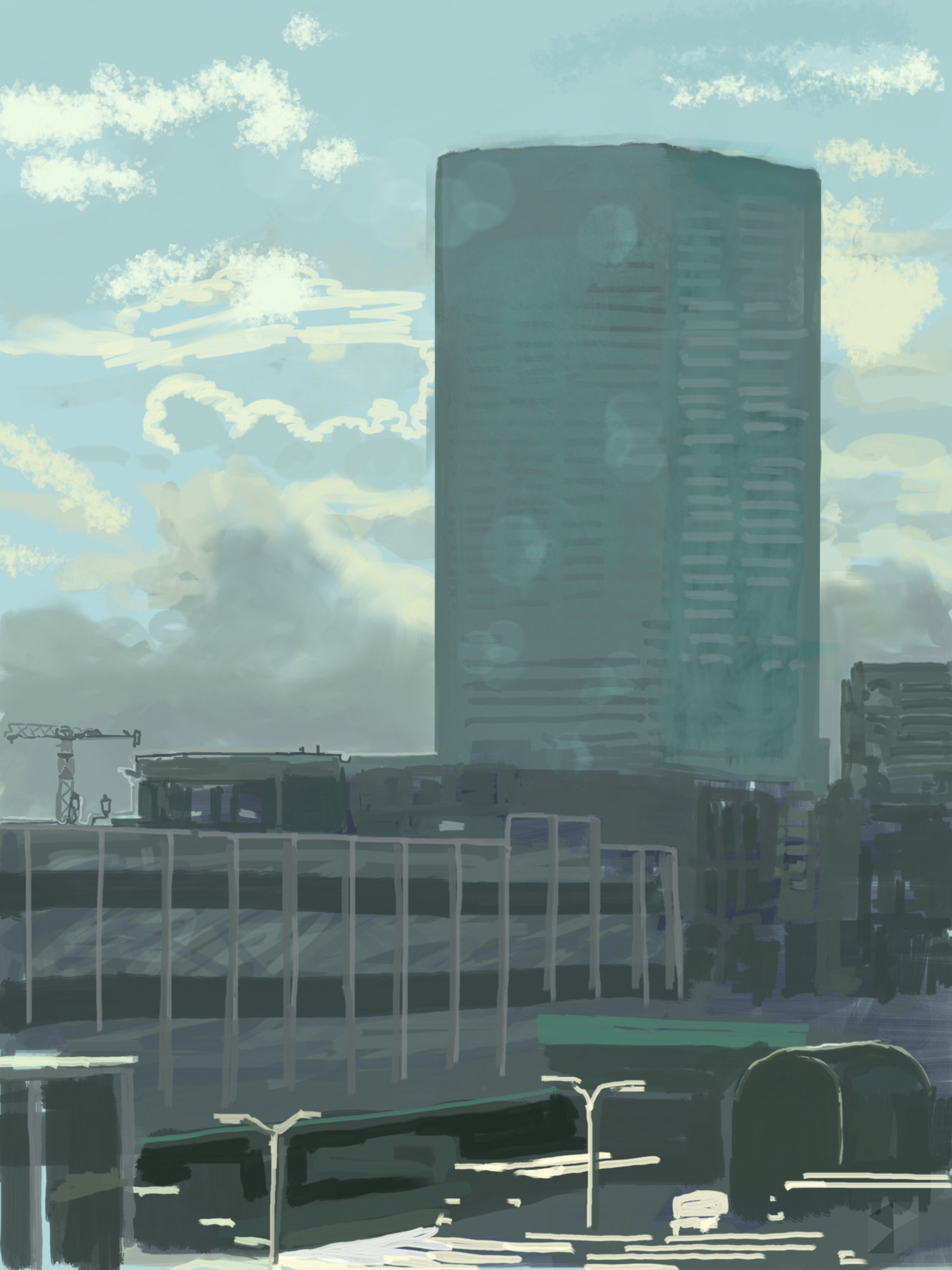 """Midday, Big Pink, Portland, Oregon,  View Out My Window.   !9""""x13"""", (48.26x33.02cm) Dimensions Variable   Electronics Painting, iPad, Procreate, © 2017"""