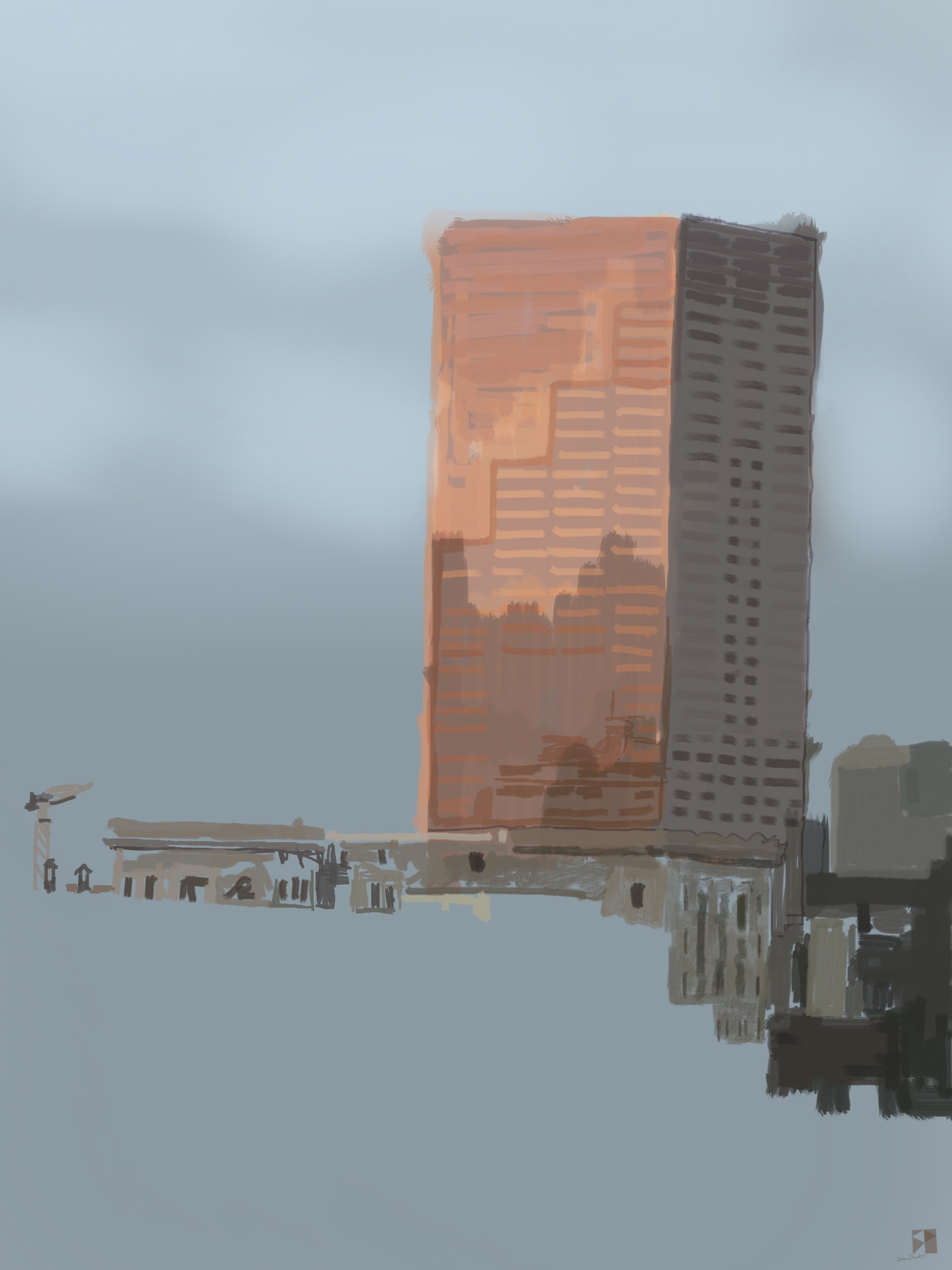 """Unfinished, Big Pink, Portland, Oregon,  View Out My Window.   !9""""x13"""", (48.26x33.02cm) Dimensions Variable   Electronics Painting, iPad, Procreate, © 2017"""
