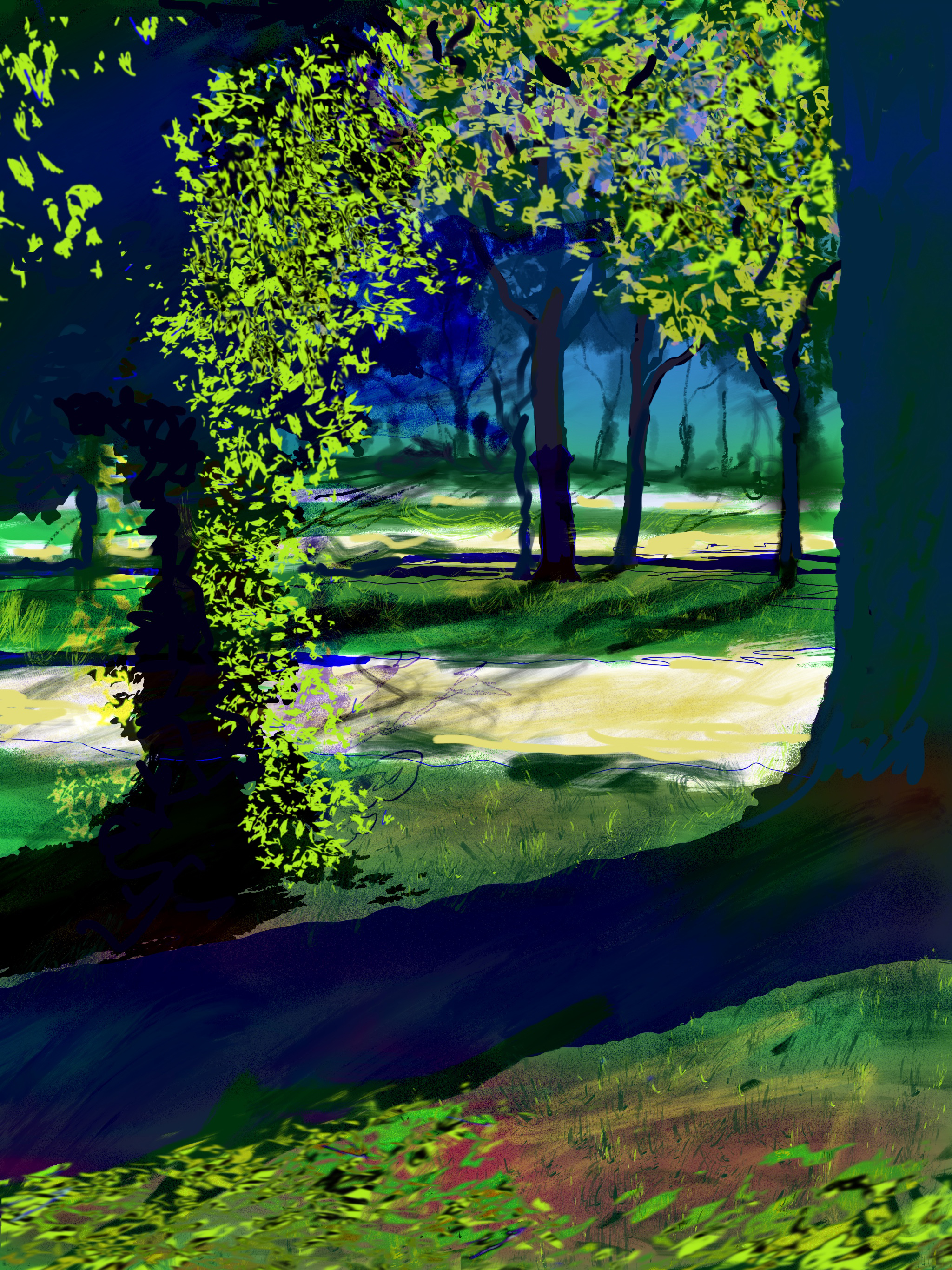 """Autumn Afternoon,  North Park Blocks. Portland, OR   19""""x13"""", (48.26x33.02cm) Dimensions Variable   Electronics Painting, iPad, Procreate, © 2017"""