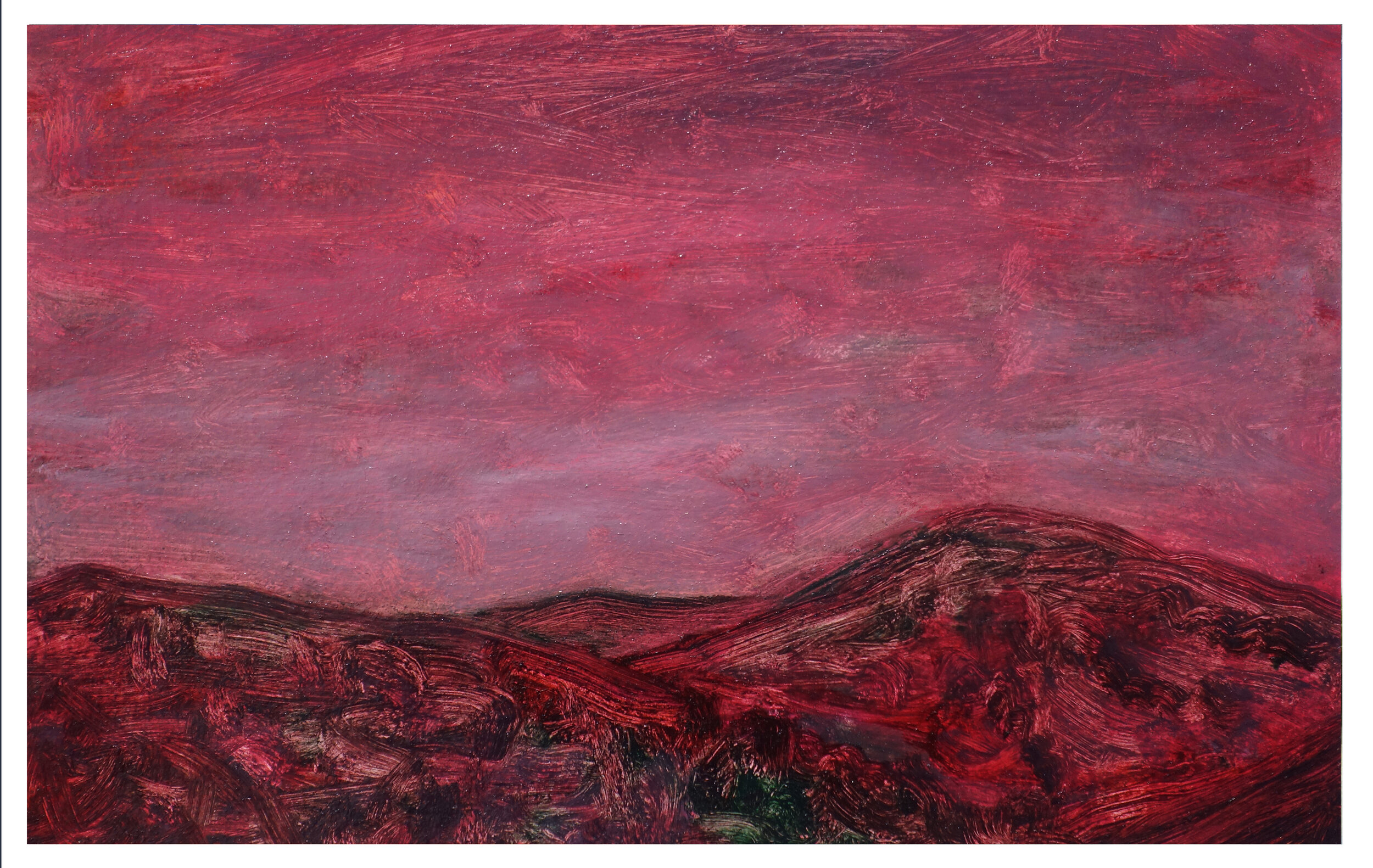 "Blood Red Hills   Oil on Paper (Arches 156#) 7"" x 11"" (17.78cm x 27.94cm)  © 2019"
