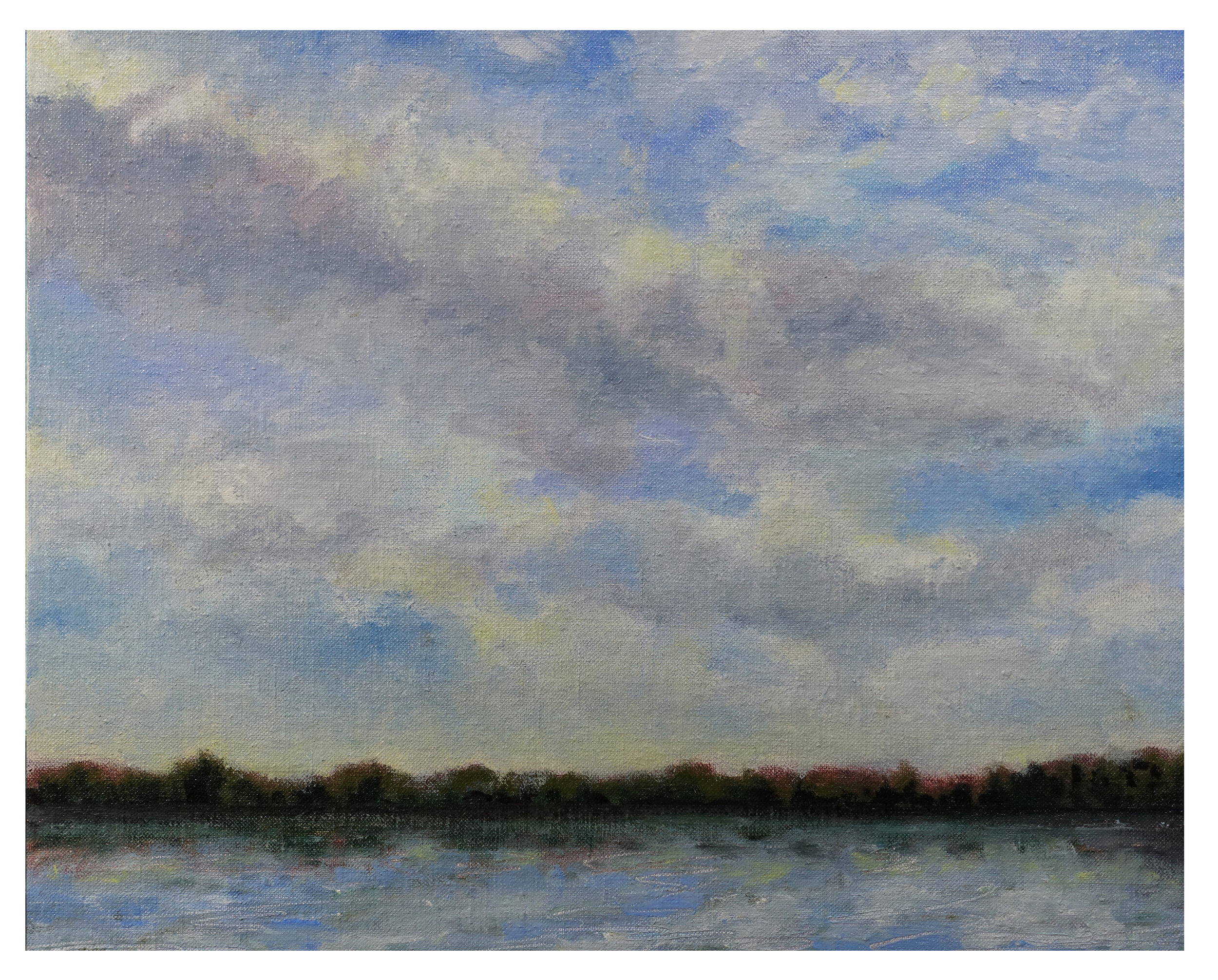 "Clouds and River   Oil on LInen mounted on Bookboard! 11"" x 14"" (27.94cm x 35.56cm)  © 2019"