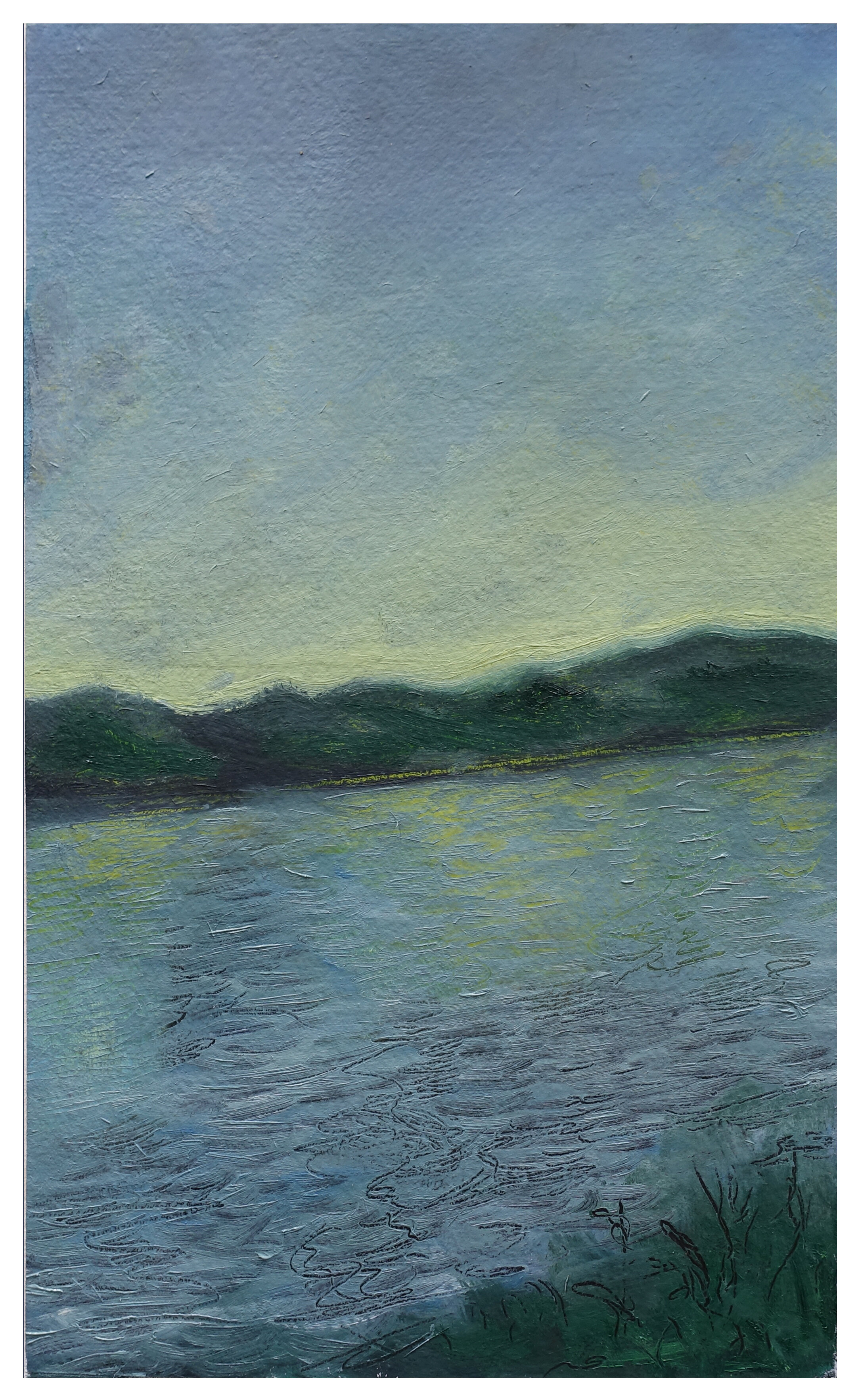 "River View Turning   Oil on Paper (Arches 156#) 11"" x 7""  © 2019"