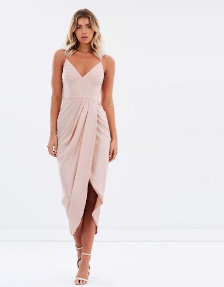 Cocktail Draped Maxi Dress - SHONAJOY