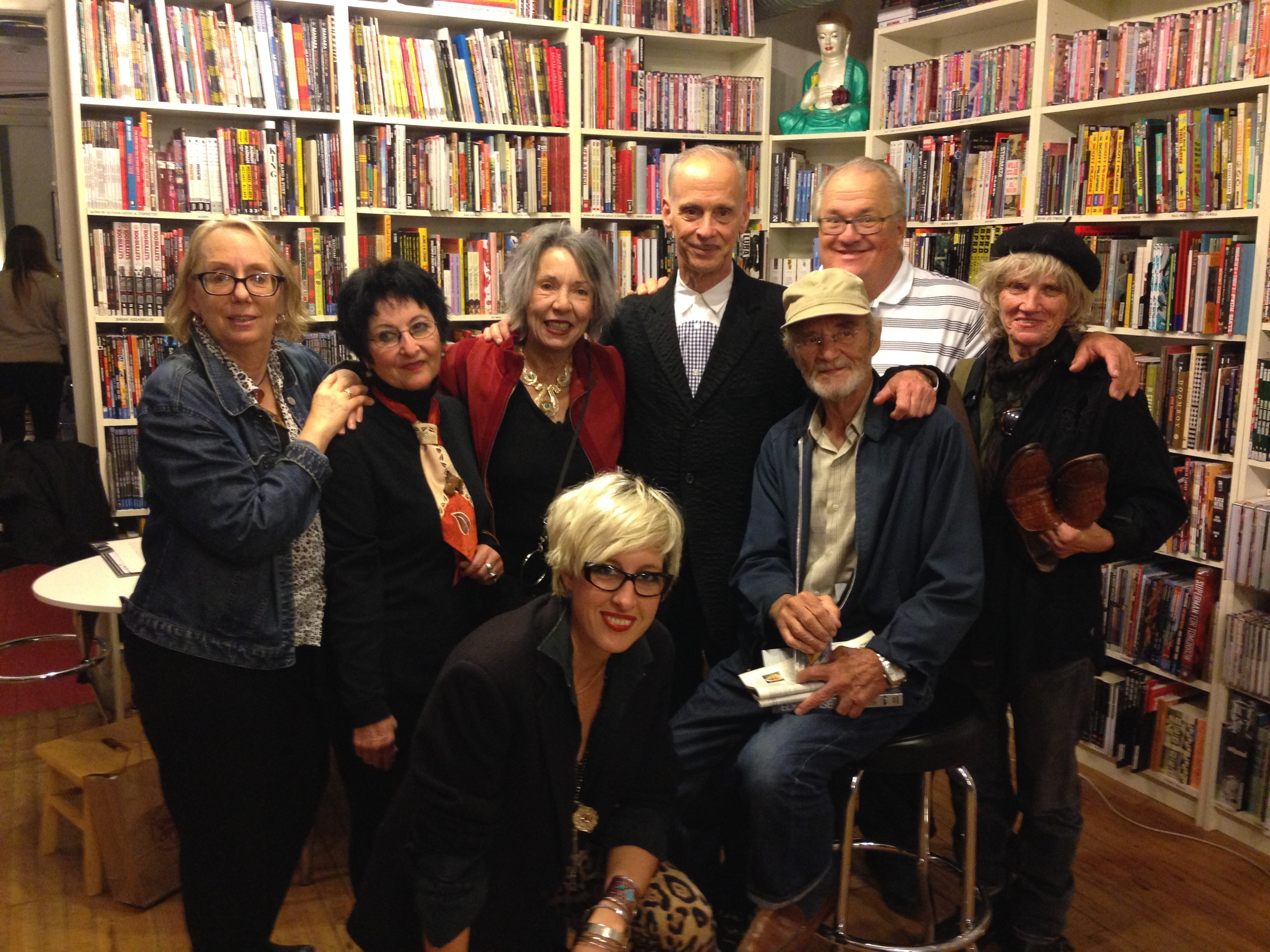 Mink Stole, Pat Burgee, Sue Lowe, John Waters, John Oden, Bob Adams, Sharon Niesp and Chloe Griffin at Atomic Books, BALTIMORE