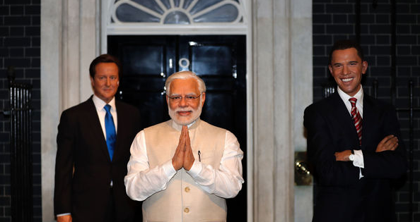 Modi putting Cameron in the shade. Pic courtesy of the Economist (via AFP)
