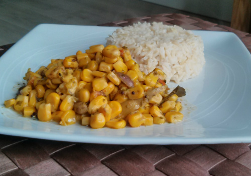 Sweetcorn Shaak and brown rice