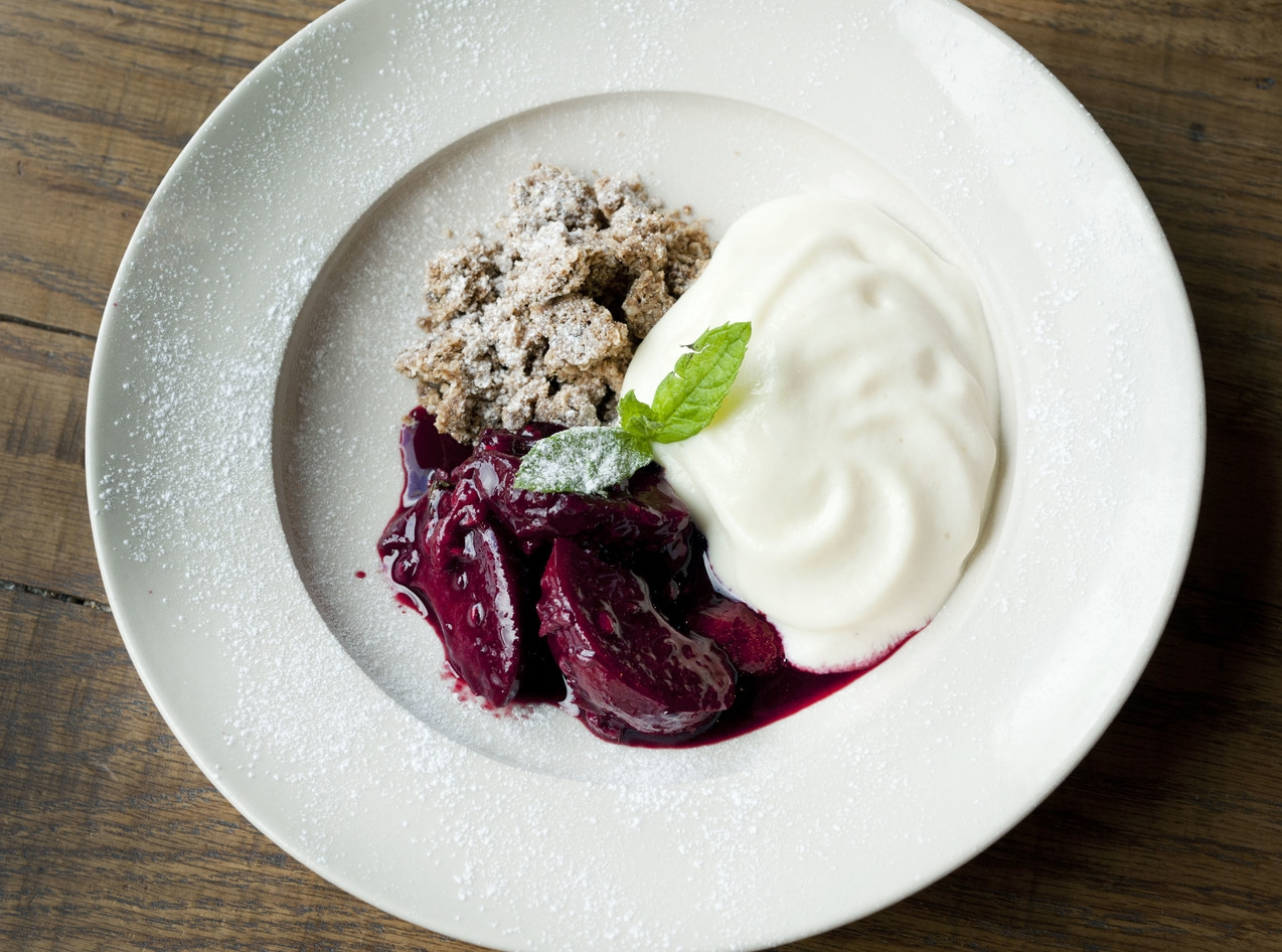 Lightly stewed red fruits, rolled oat & quinoa crumble, orange soya mousse