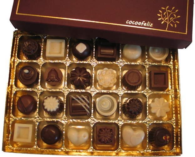 A box of 24 chocolates from Cocoafeliz