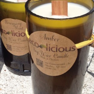Soy wax candles in recylced wine bottles