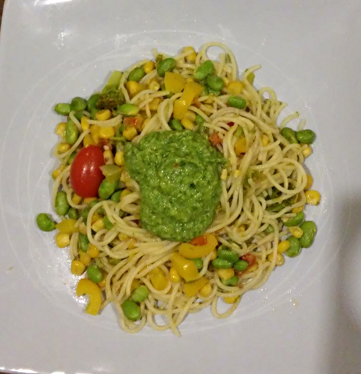 Penne swapped for spaghetti, courgette replaced with sweetcorn & basil sauce not mixed in