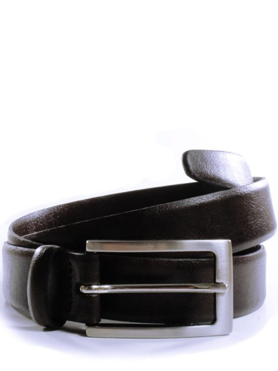 Dark brown belt with a silver buckle