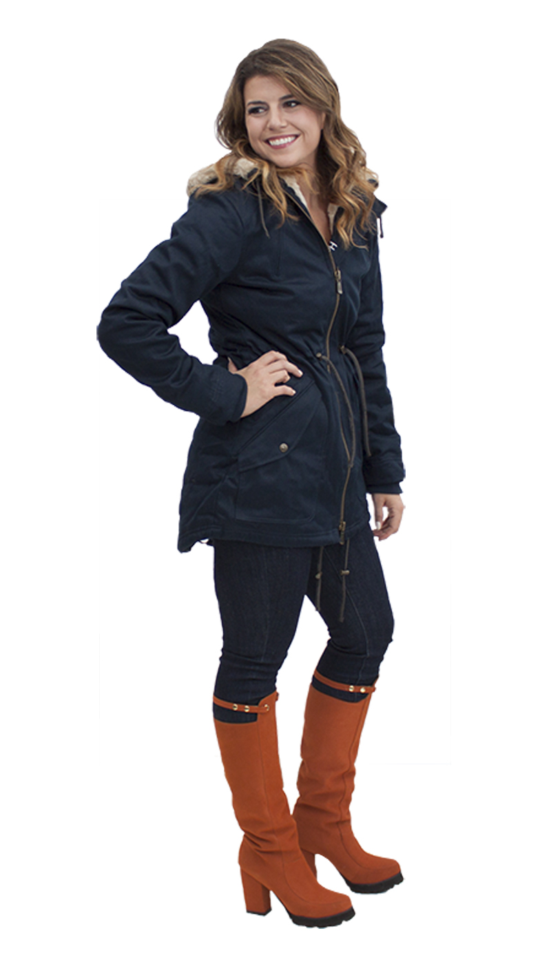 Ladies parka in midnite blue: A parka from best-selling outerwear brand HoodLamb