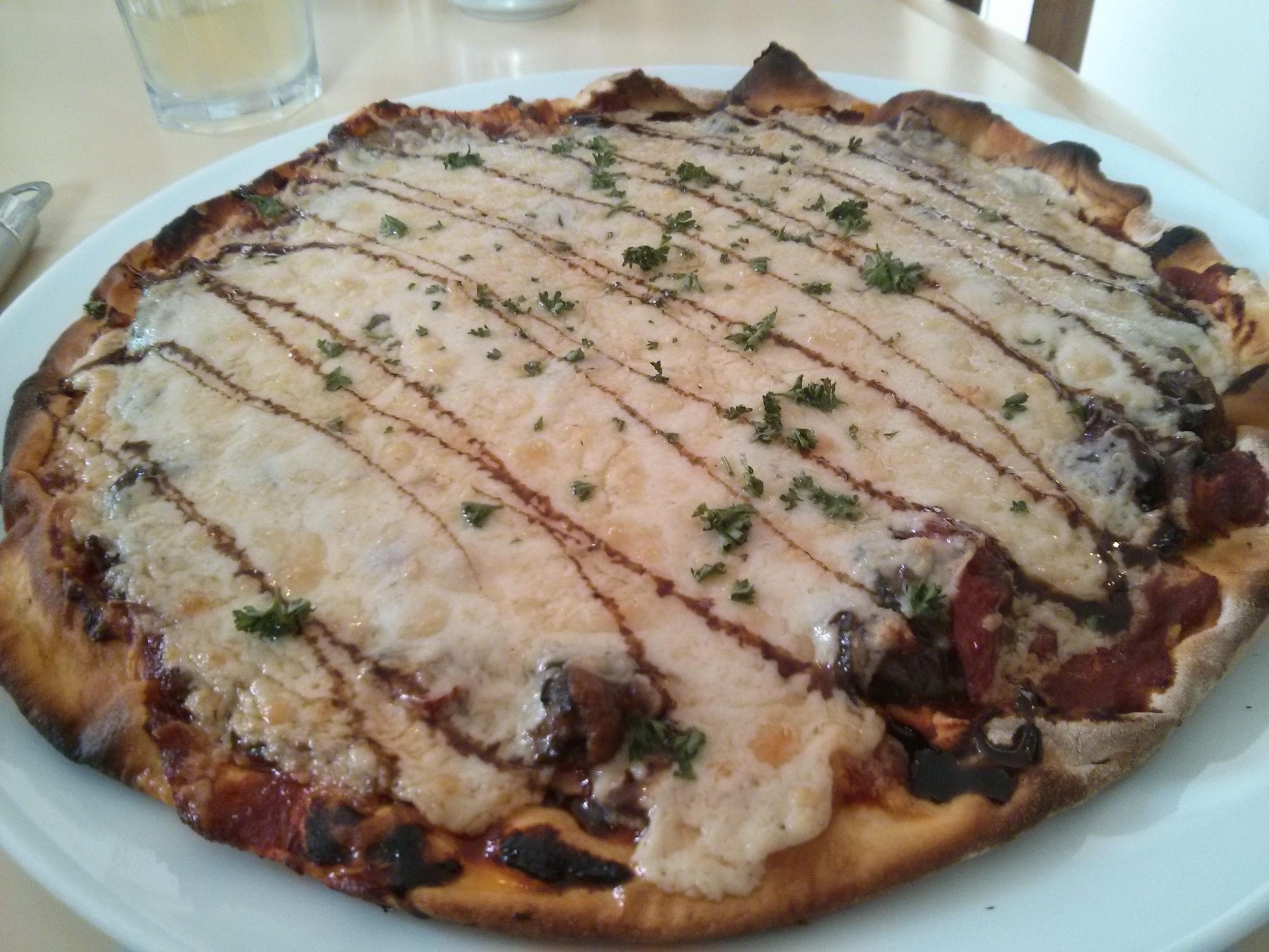Roasted mediterranean vegetable pizza