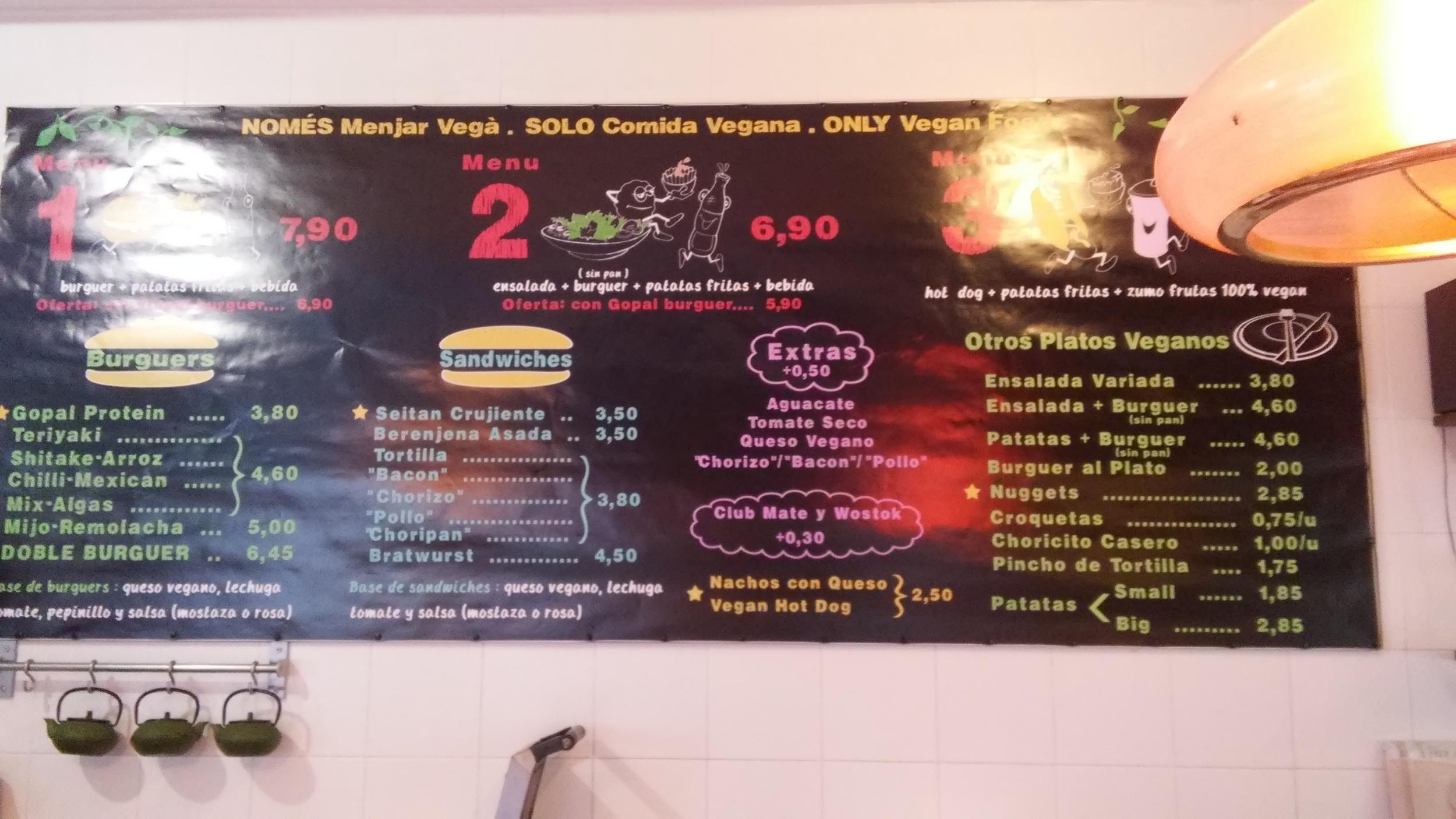 Gopal's menu