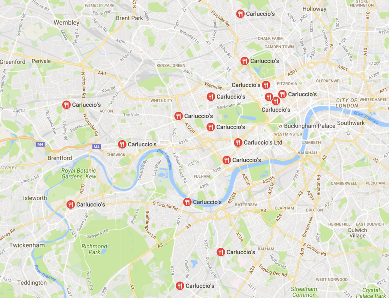 Some of Carluccio's many locations