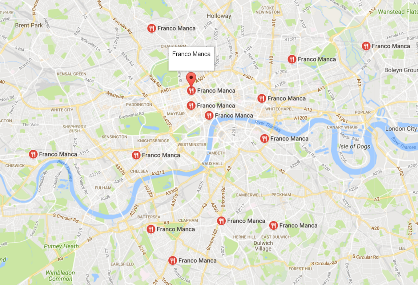 Some of the many locations where you can find a Franco Manca