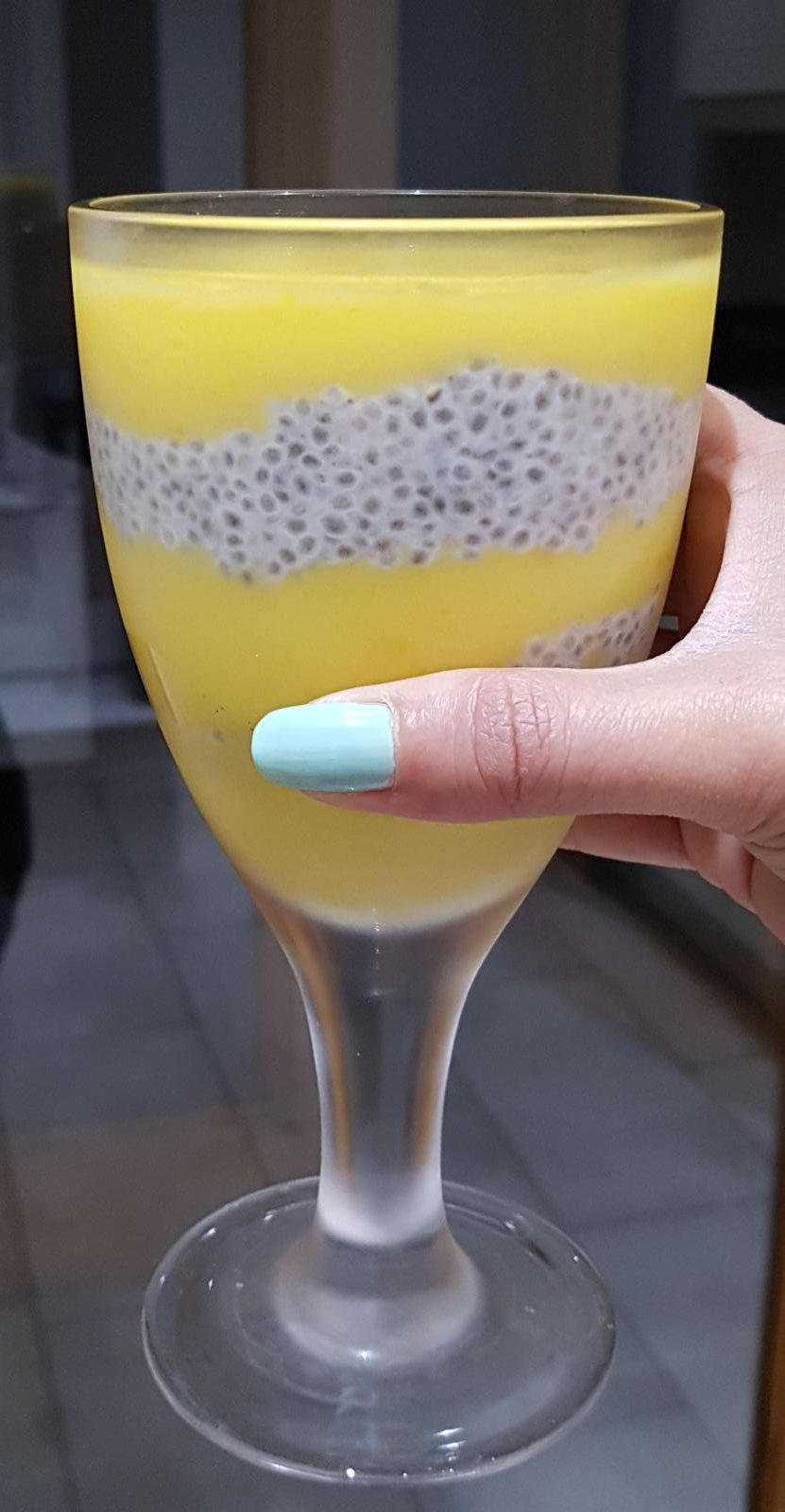 Chia Seed Pudding with layers of blended mango throughout