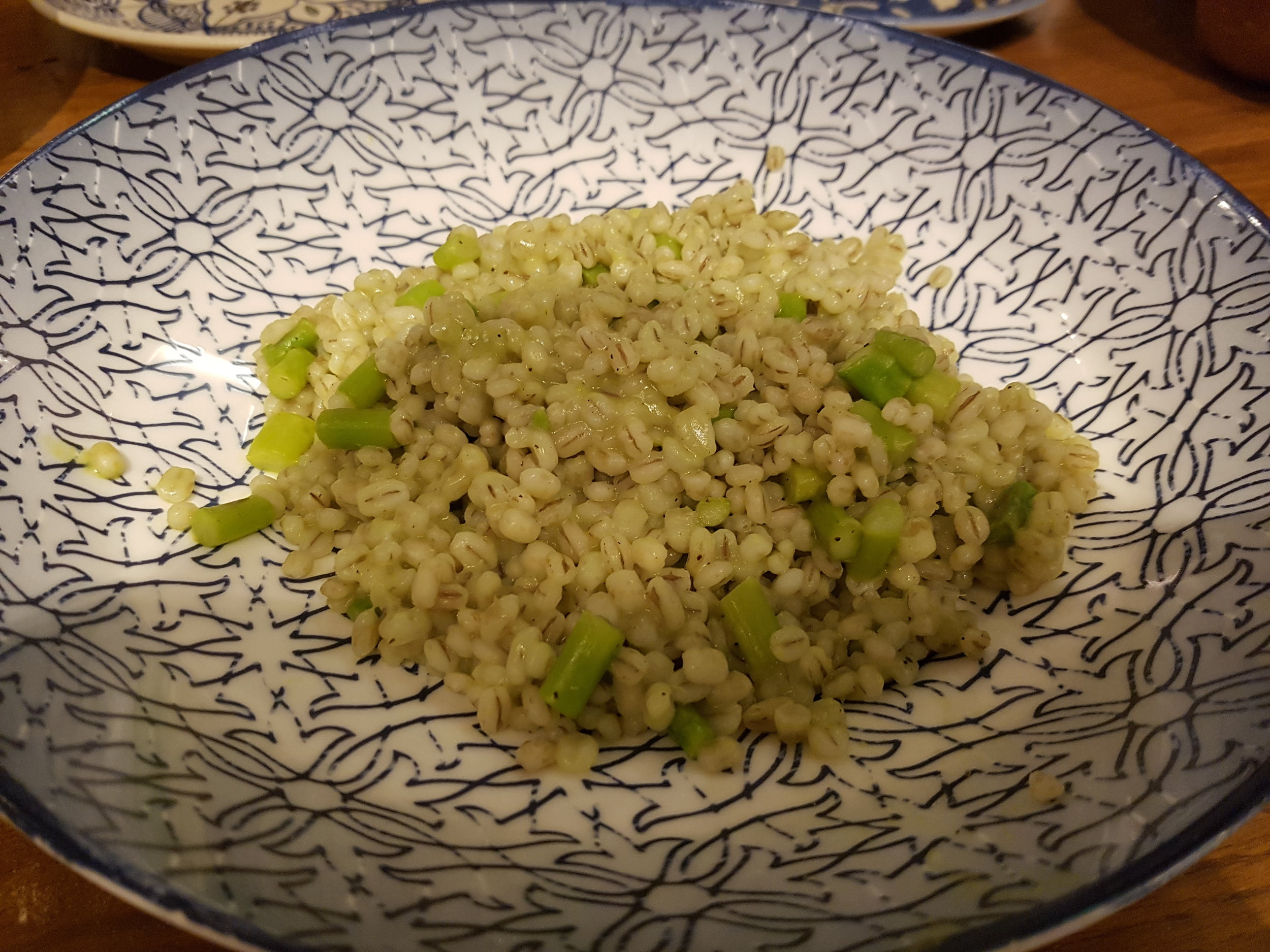 Stewed barley, asparagus and Kashmiri morels