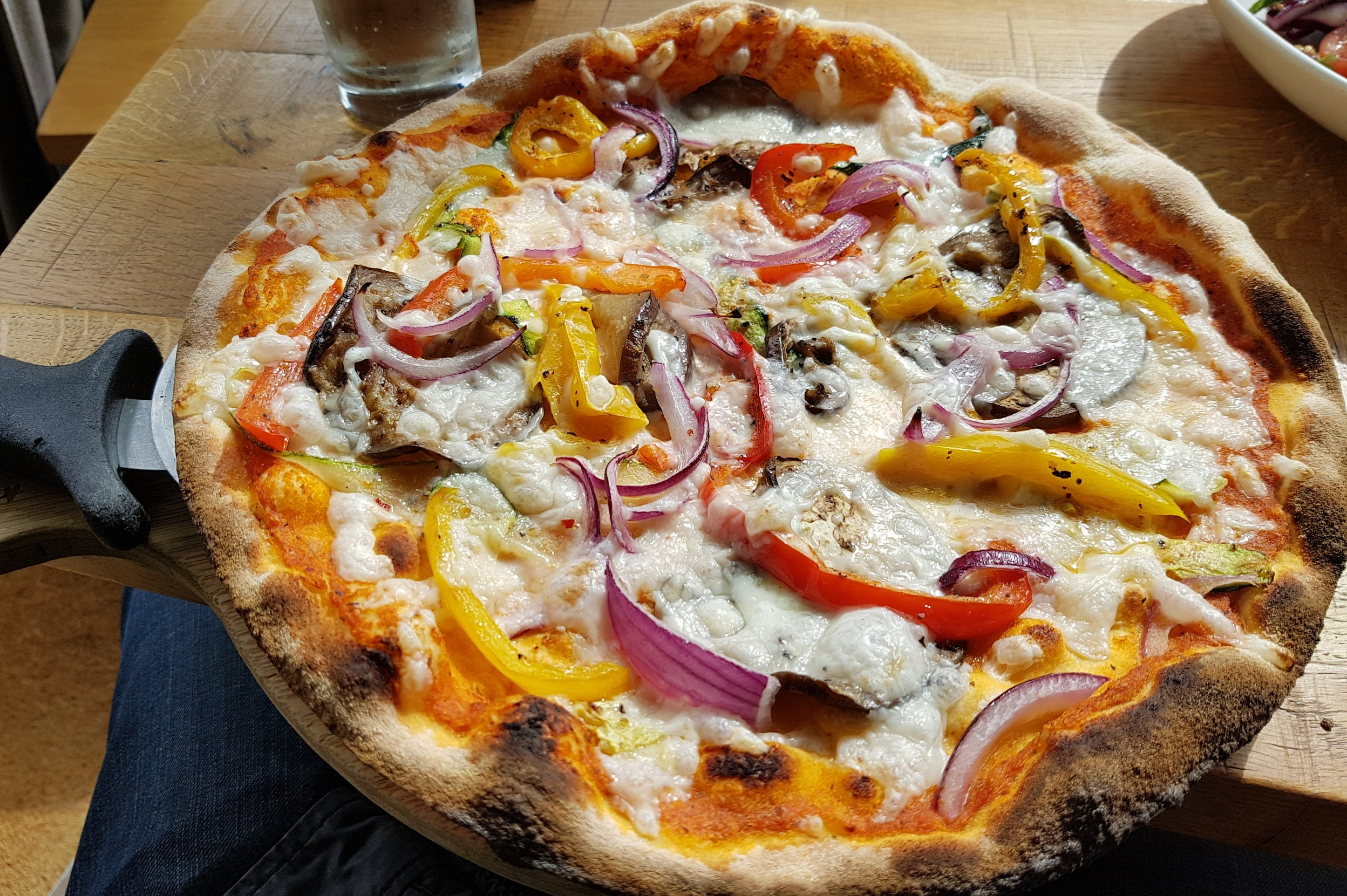 The Good Life | roasted courgette, aubergine, roasted red & yellow peppers, with onion, vegan cheese and fresh basil