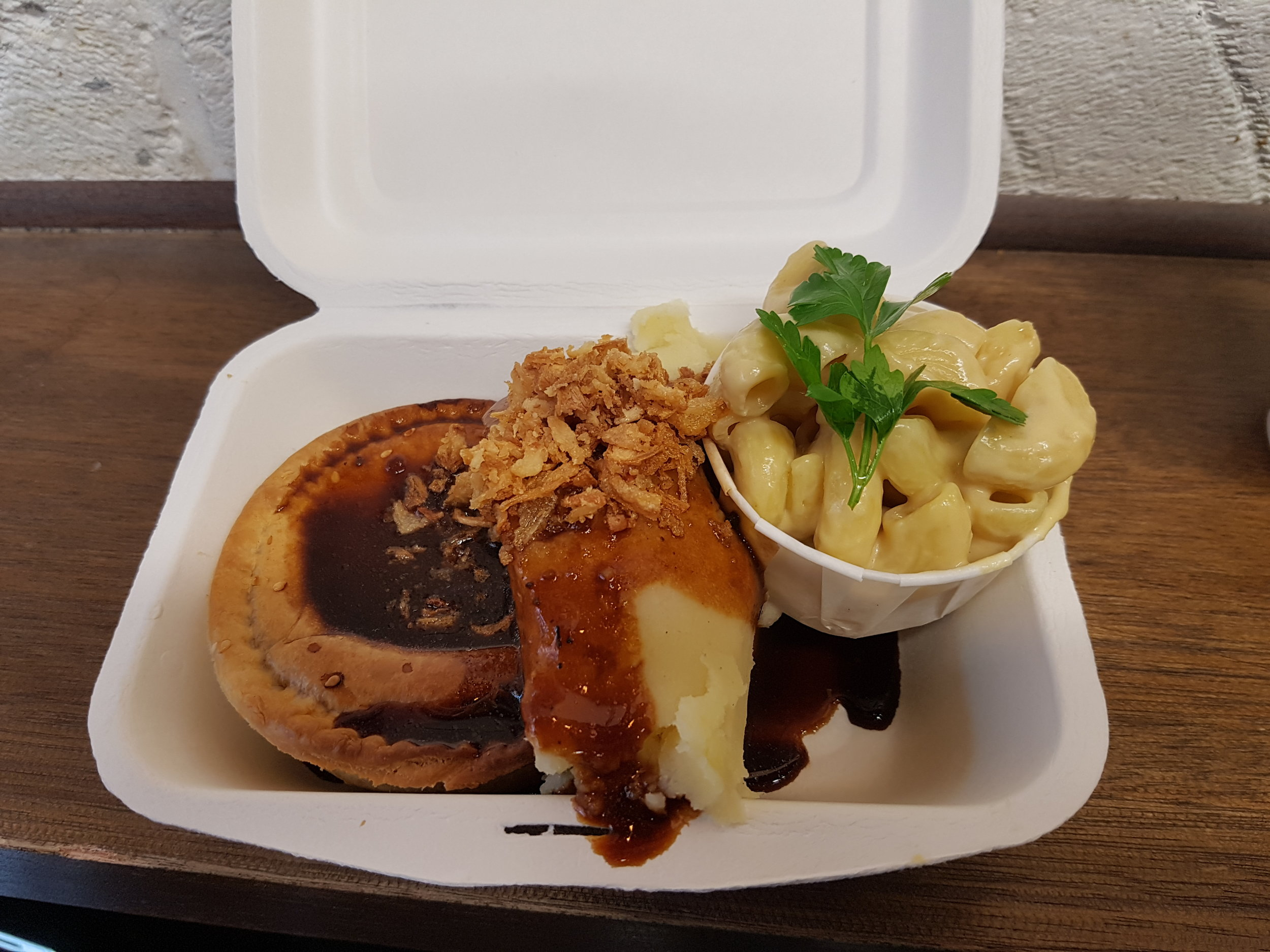 Vegan pie, mash and mac n cheese at Young Vegans