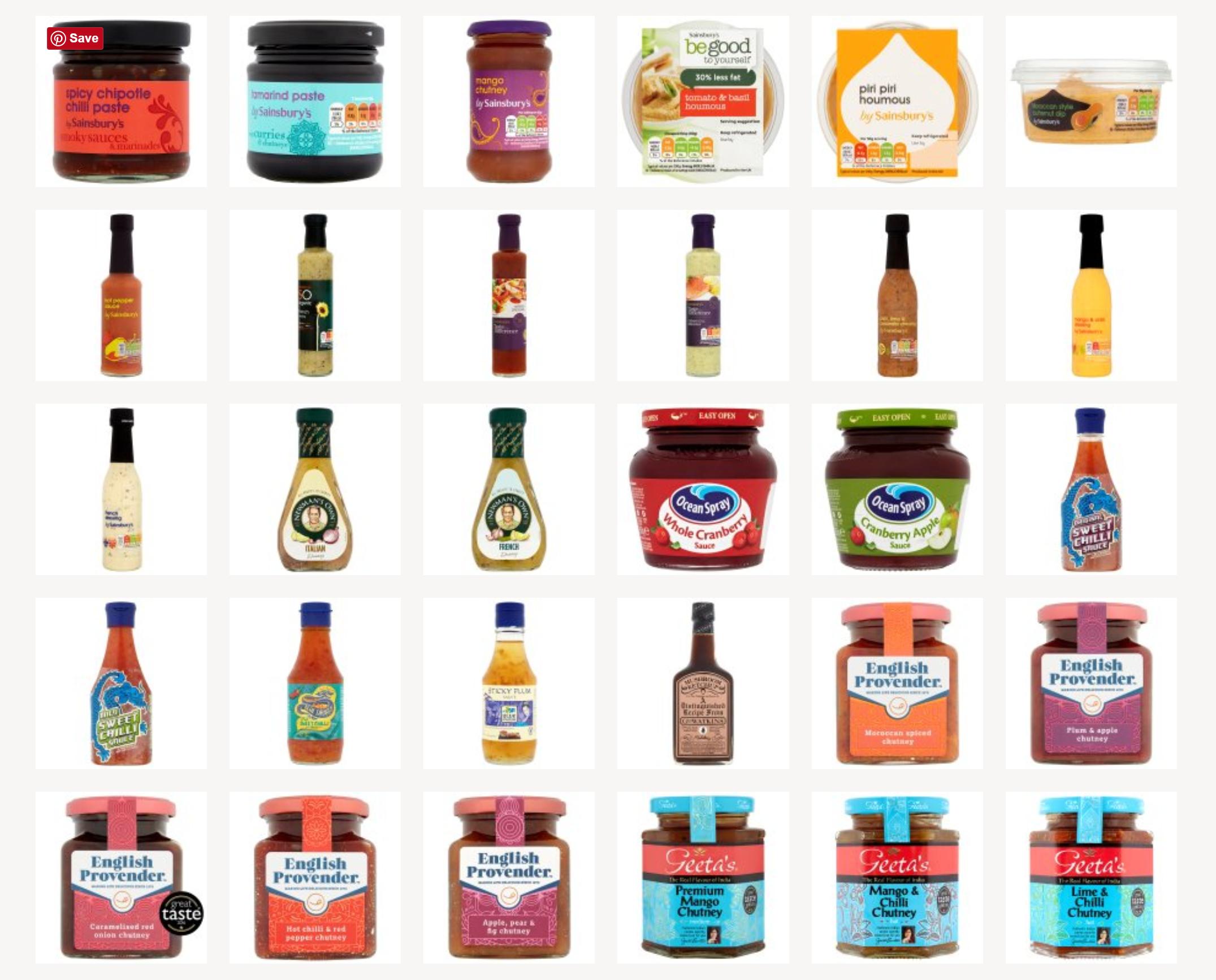 Vegan condiments in Sainsbury's