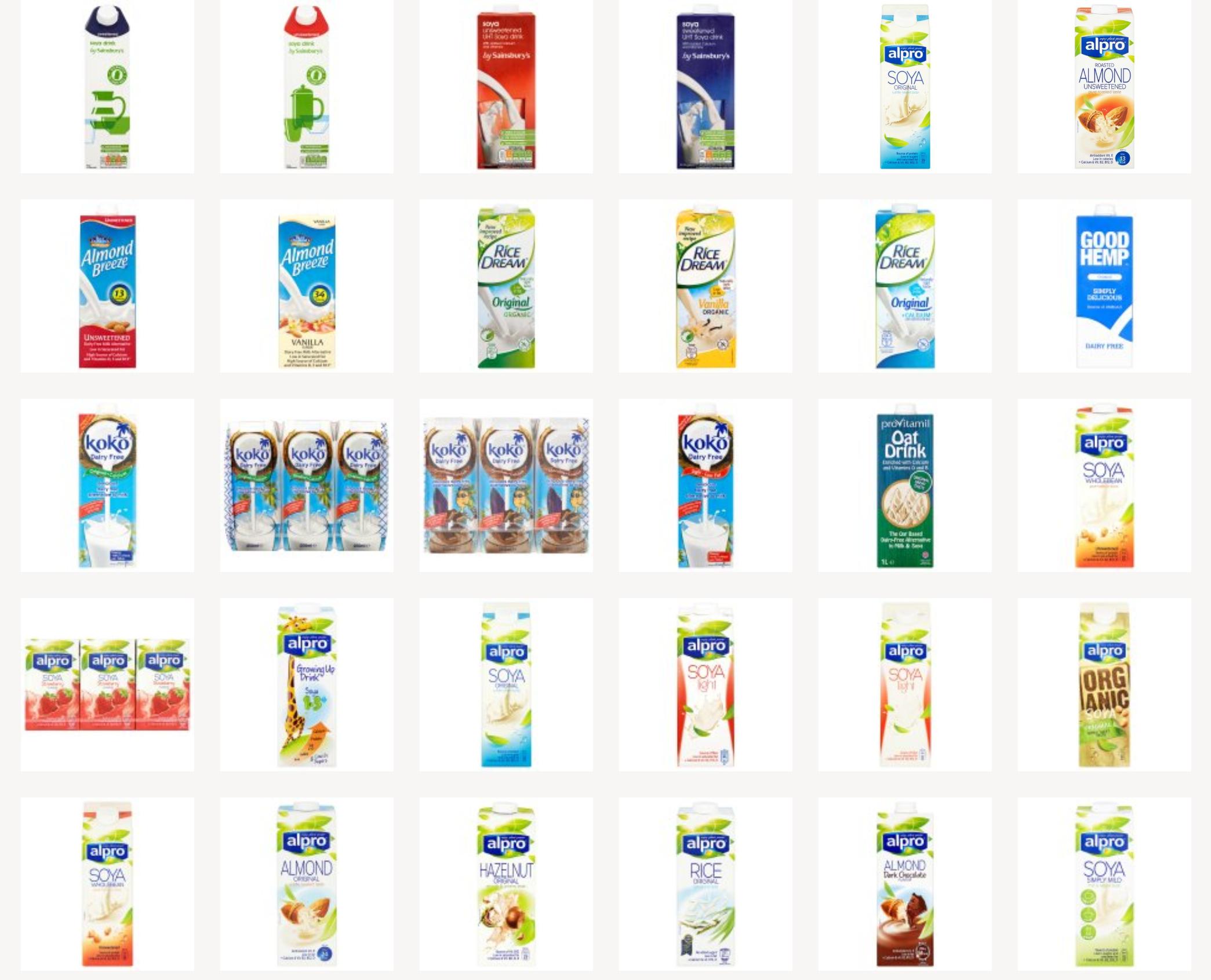 Vegan milk in Sainsbury's