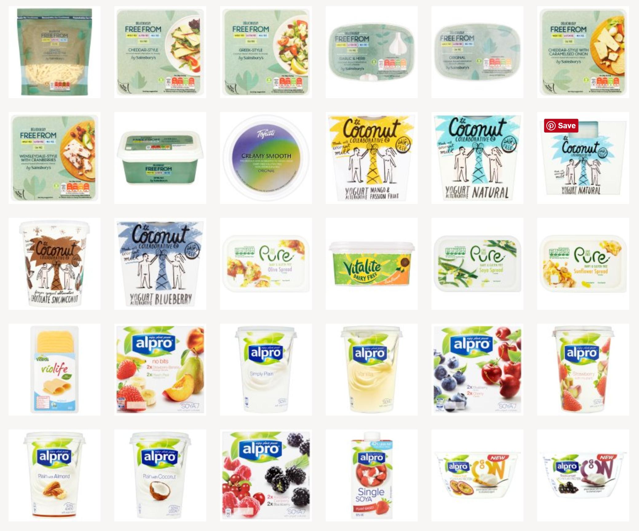 Vegan spreads, cheese and yoghurt in Sainsbury's