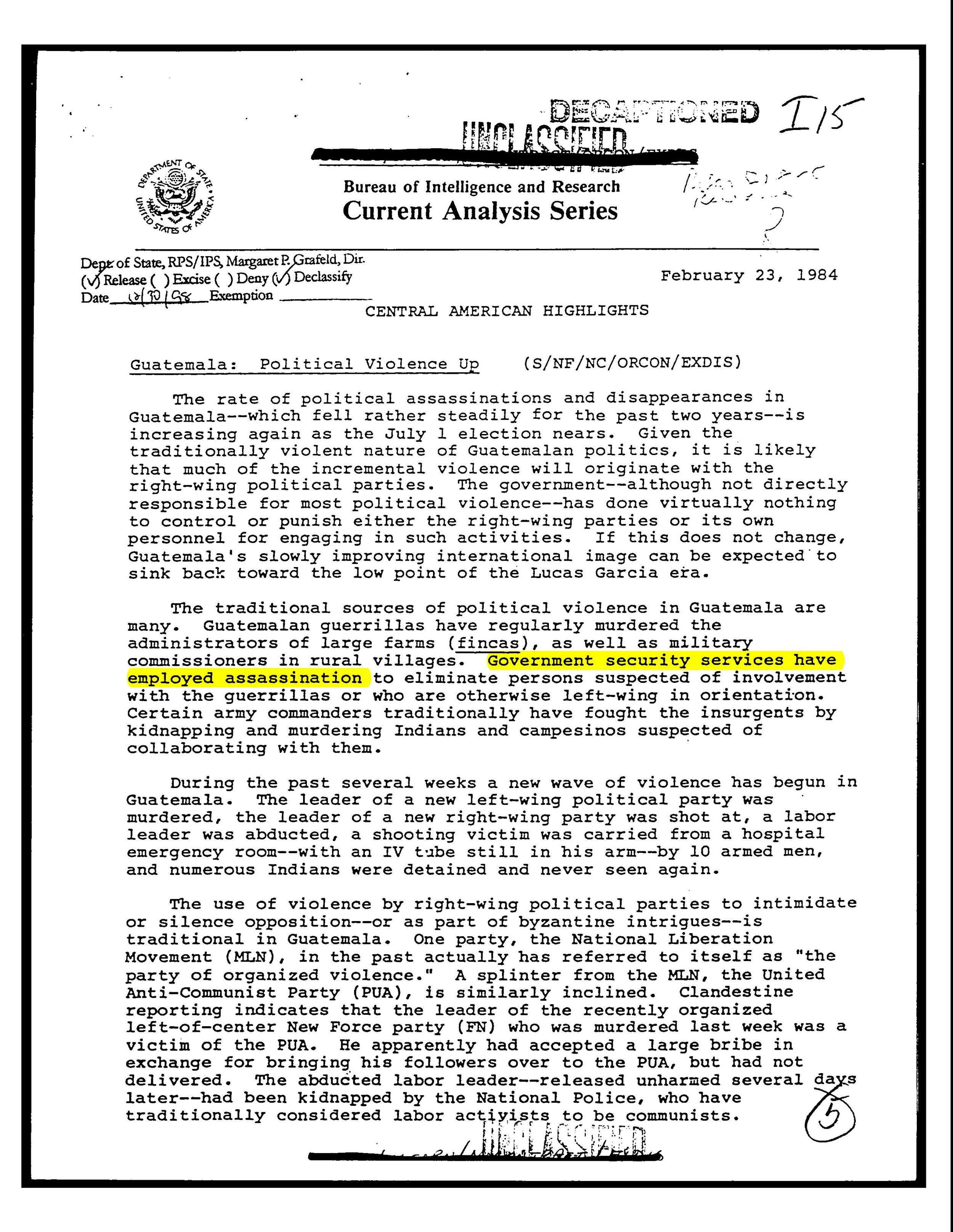 Documento desclasificado del Gobierno de los Estados Unidos obtenido a través de una solicitud usando el derecho 'Libertad de Información' por el Archivo de Seguridad Nacional en Washington DC. / De-classified US Government document obtained through a Freedom of Information request by the National Security Archive in Washington DC.