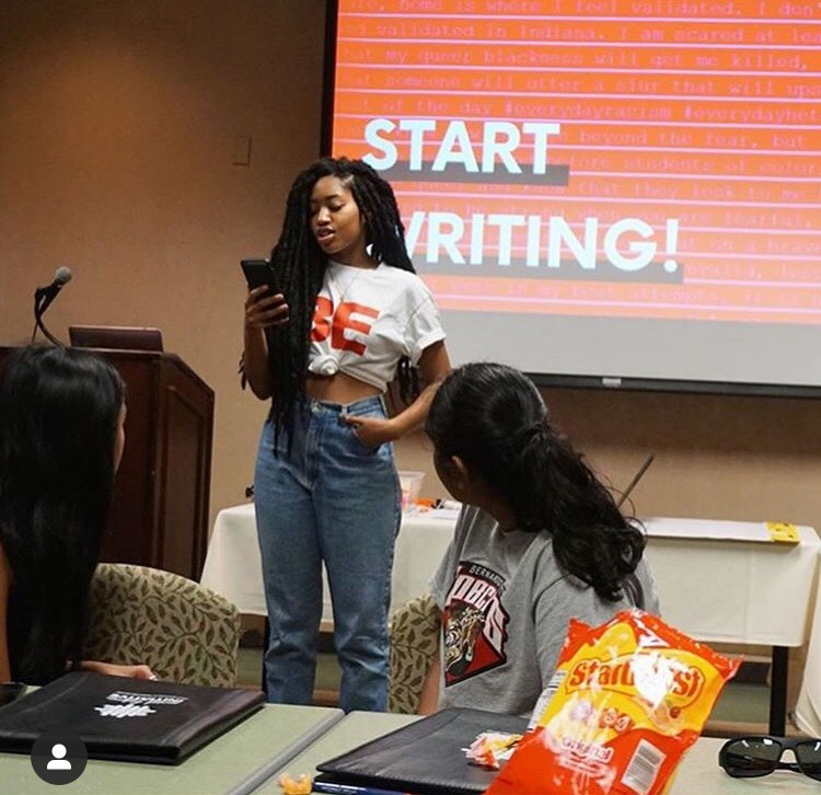 "Towards the end of the summer, 17 year old, Endiyah Griffin took initiative to lead the 'BE Your Story"" workshop at the University of San Diego. Here she is expressing her story to the youth whom were connected with us through their Social Fabric Initiative program."