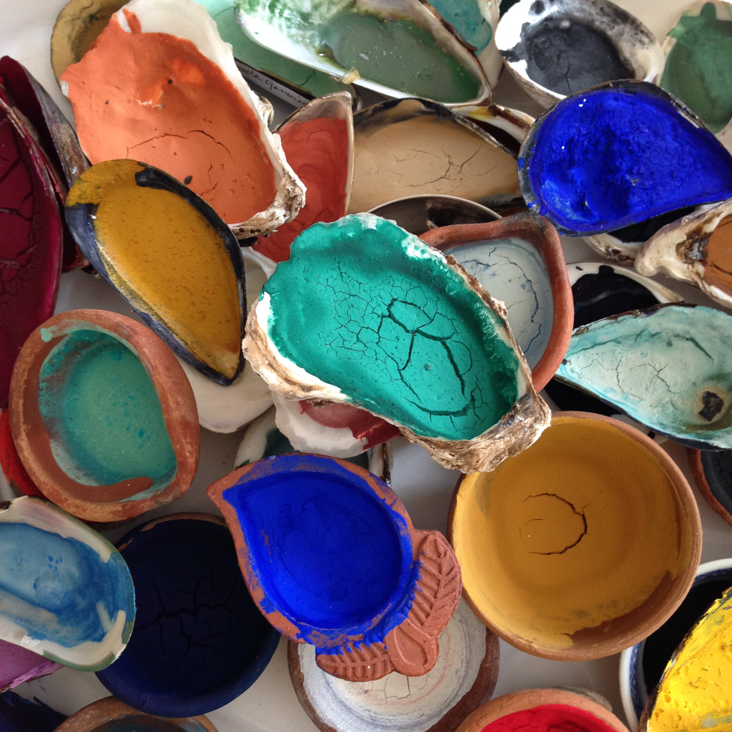 Shells of prepared opaque mineral pigments, await reviving with water.