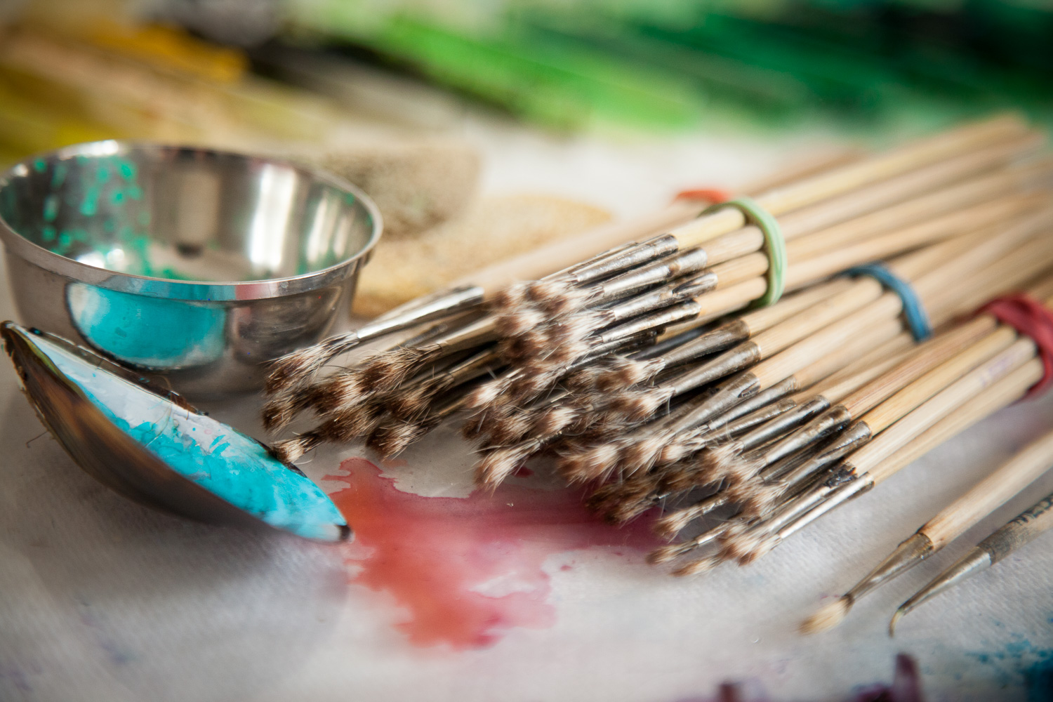 Precious squirrel brushes hand bound and cased in a delicate ferrel. They require endless cleaning to keep them alive.
