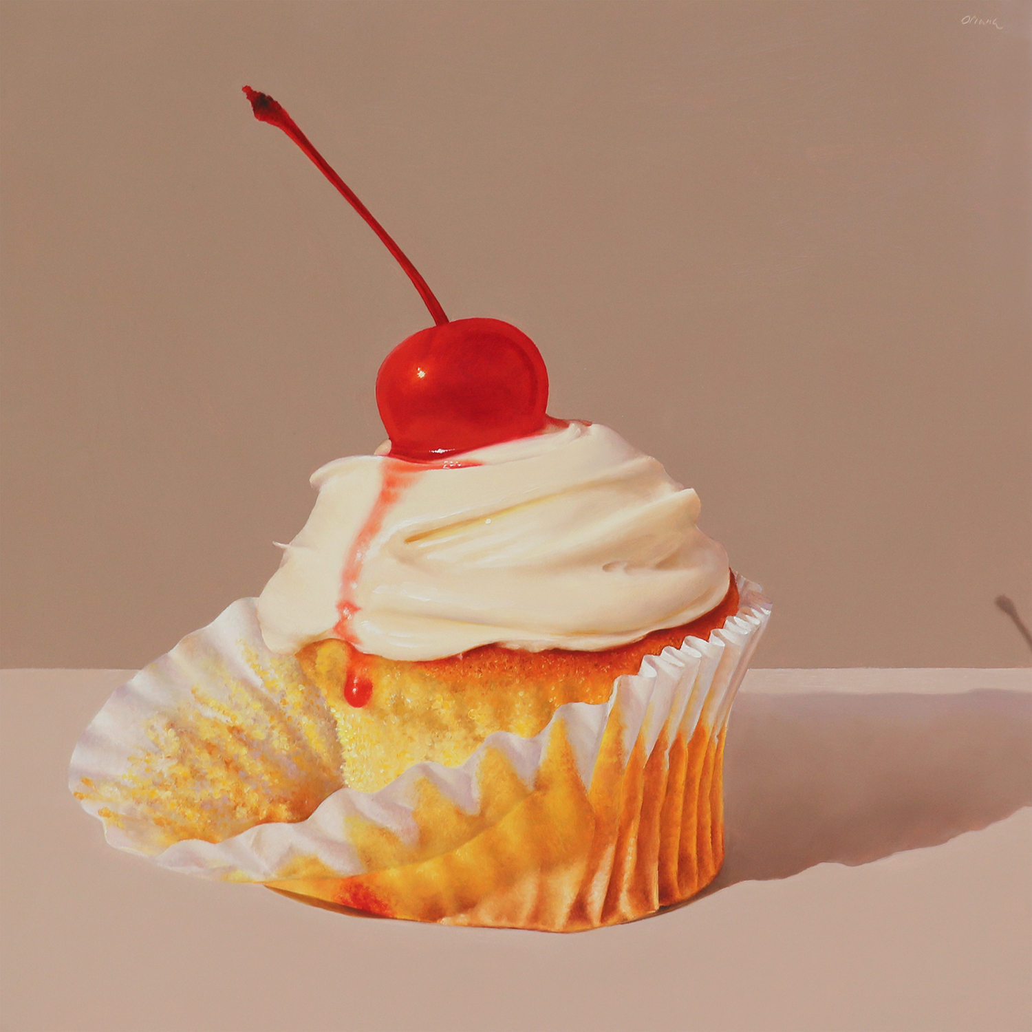 Cupcake with Maraschino Cherry  oil on panel / 12 x 12 inches  SOLD