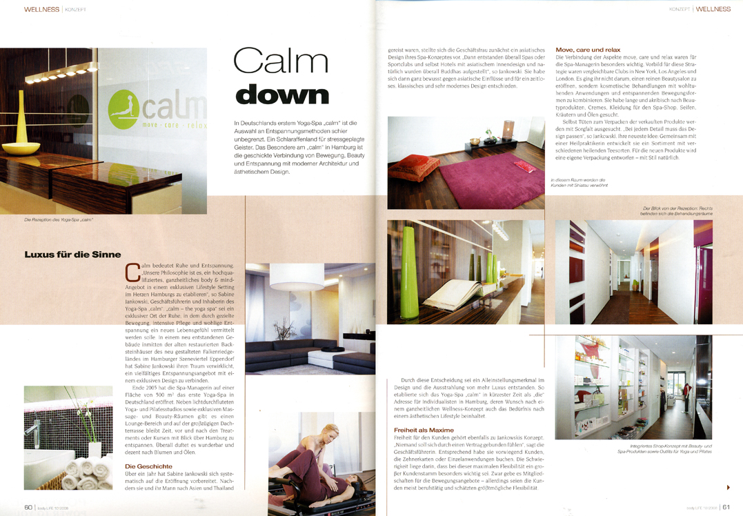 Calm Bericht - Magazin Body Life