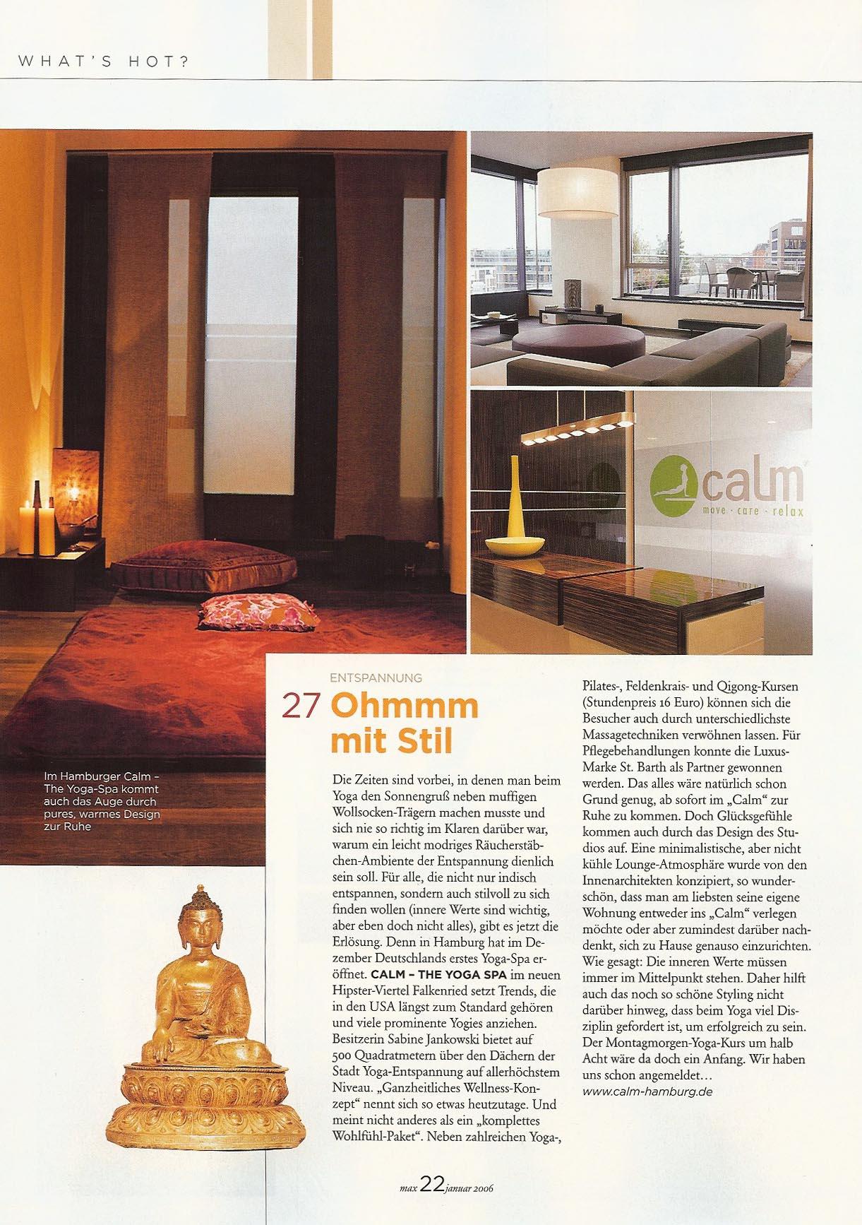 Calm Bericht - Max Magazin