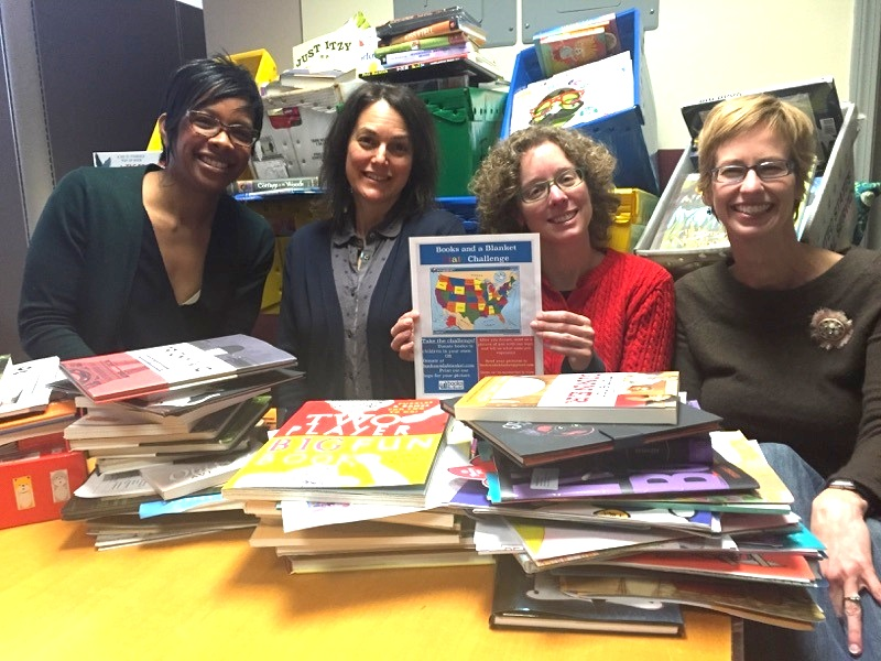 The  Family Fun  magazine crew collecting books for the State Challenge.