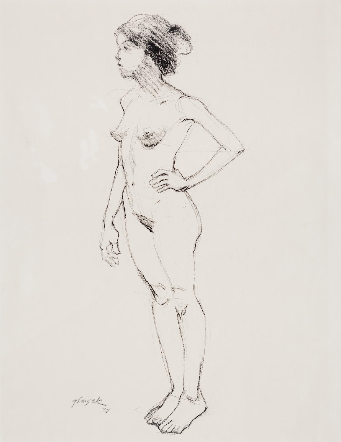 10  Standing Female Nude Hand on Hip