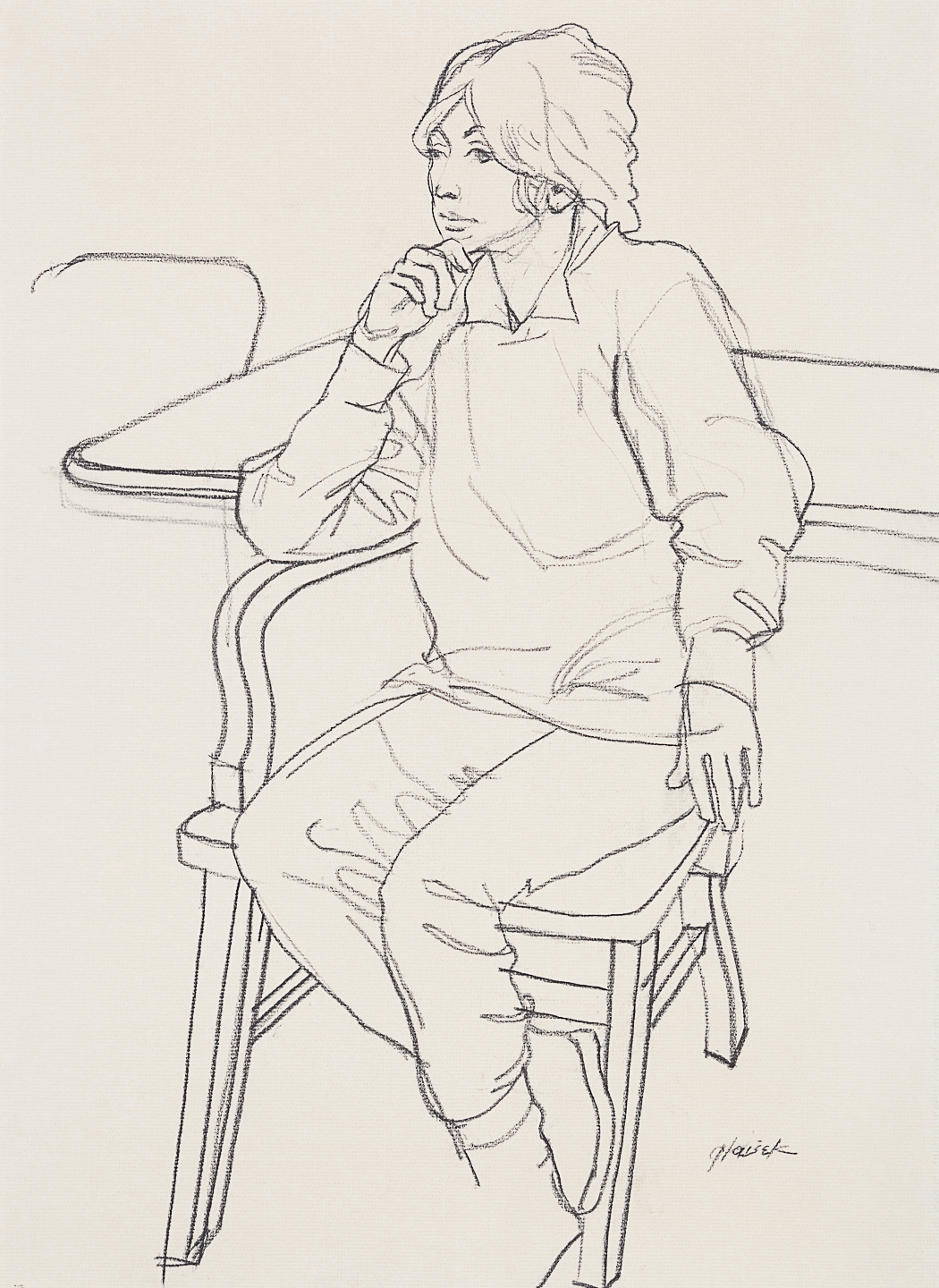 54  Woman Seated at Table with Hand to Chin (Contour)