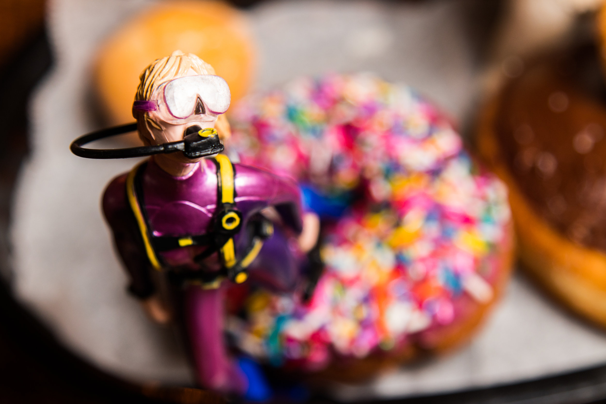 Diver Emerges from Sprinkles