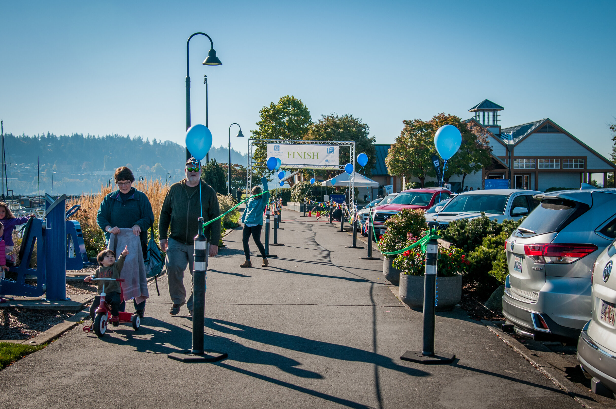 Finish line at Salish to Salish 10K race on Saturday, Oct. 13, 2018 in Bellingham, WA. The inaugural year saw 327 racers (Photo by Salish Wealth Management).