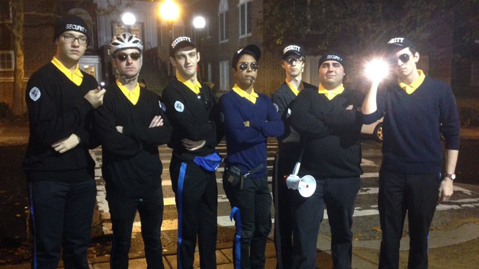 Nathan, roommates and friends dress up as the school's police force for Halloween