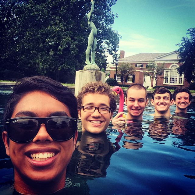 """How do we show that we're getting a head start in the new season?"" We take this picture, apparently. #wading #jhu #koiboys #presidentspond"