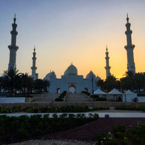 The Grand Mosque at sunset, Abu Dhabi