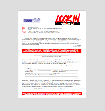 Download a 2016 Lock-In Permission Slip here in order to print at home.