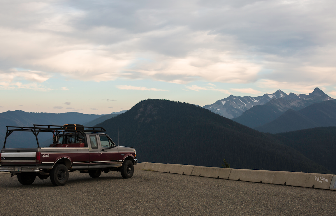 Mona in the Cascades. The night delivered an atrociously beautiful fluorescent pink sunset.